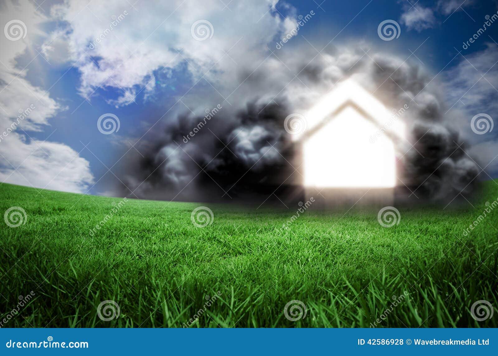 Samengesteld beeld van huis in wolk stock illustratie afbeelding 42586928 - Beeld van eigentijds huis ...