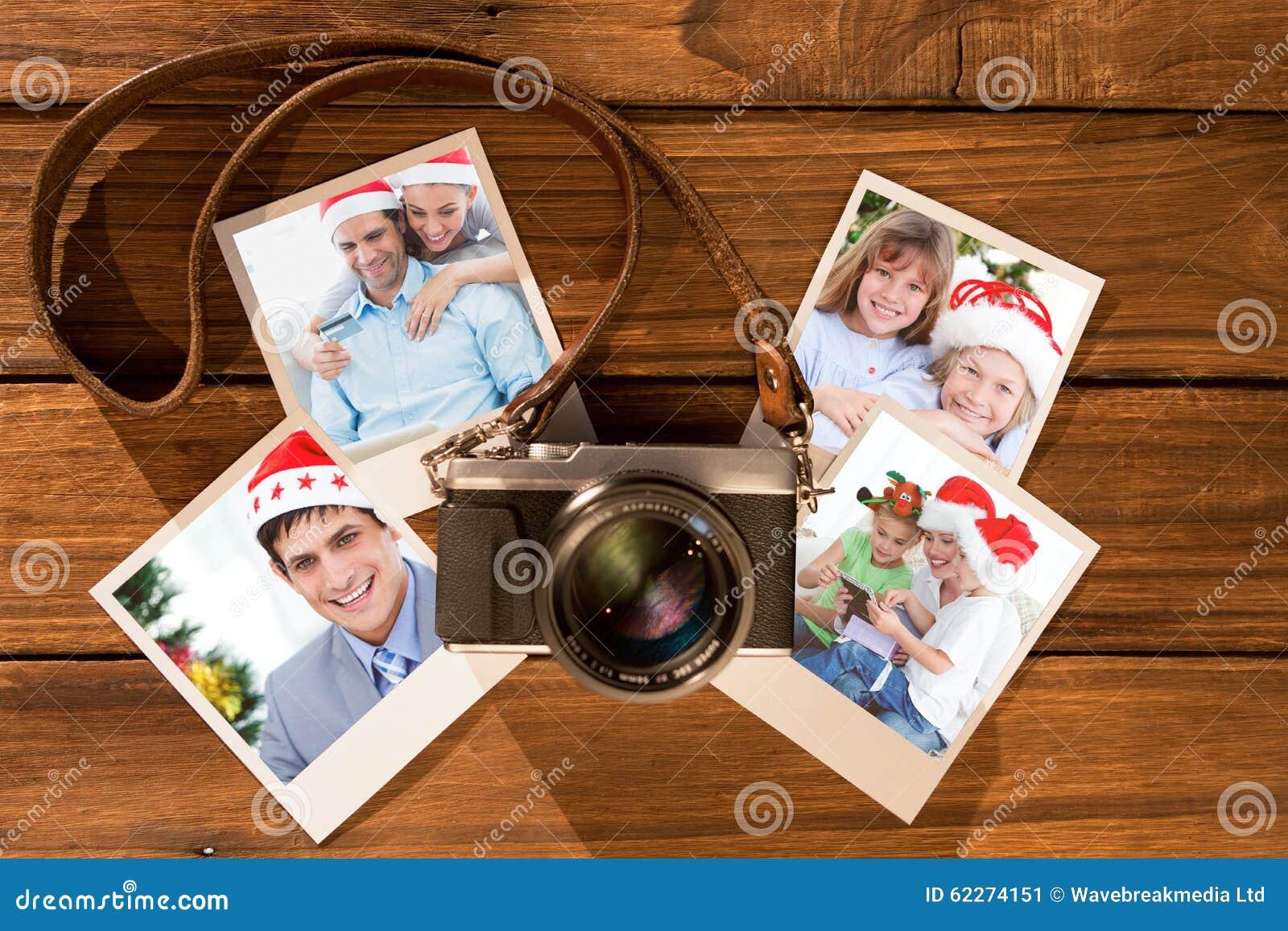 Samengesteld beeld van leuk paar in santahoeden die online met laptop winkelen