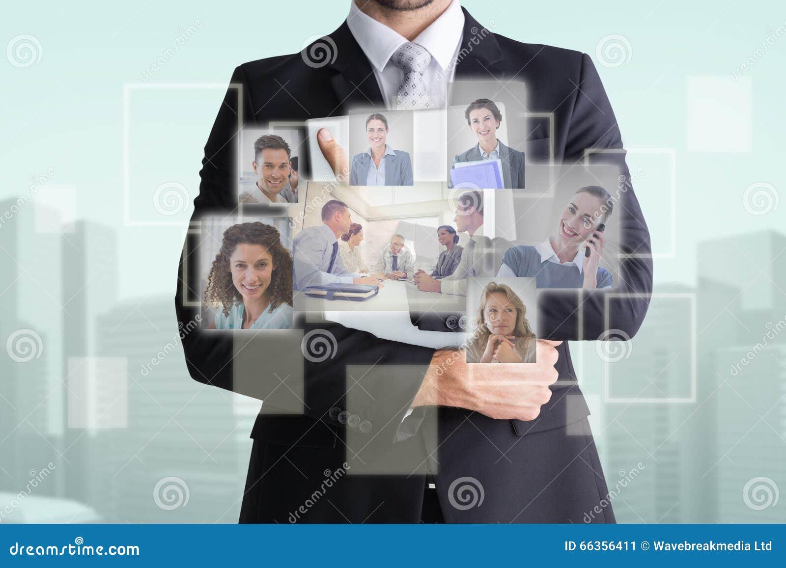 Samengesteld beeld van medio sectie van de computer van de zakenmanholding