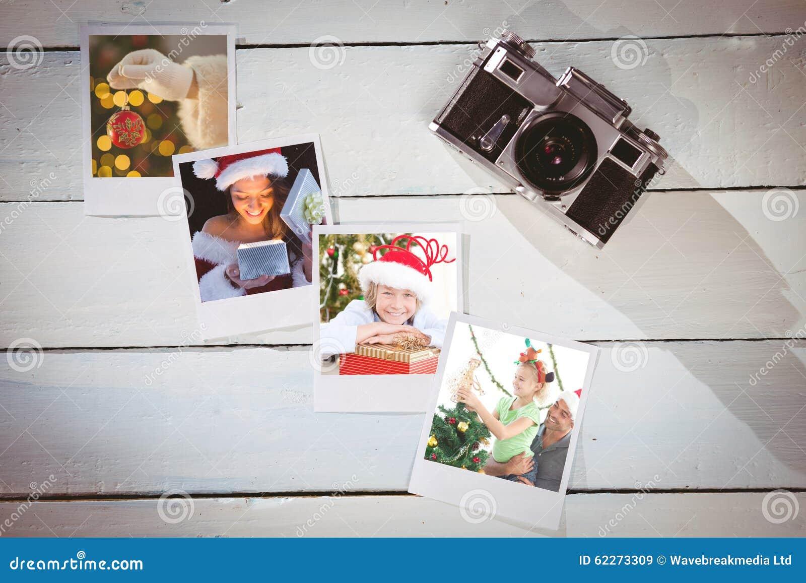 Samengesteld beeld van mooi brunette in santauitrusting het openen gift
