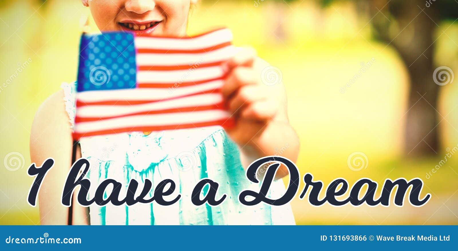 Samengesteld beeld van portret die van meisje Amerikaanse vlag tonen