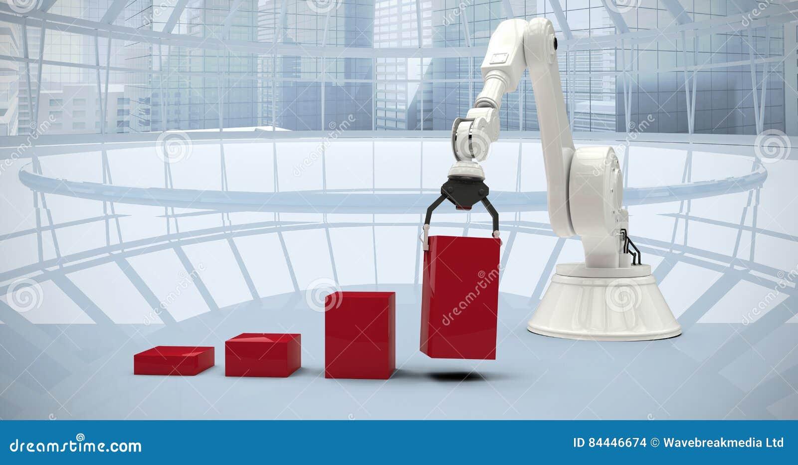 Samengesteld beeld van samengesteld beeld die van robot rode stuk speelgoed blokken schikken in 3d bar ghaph