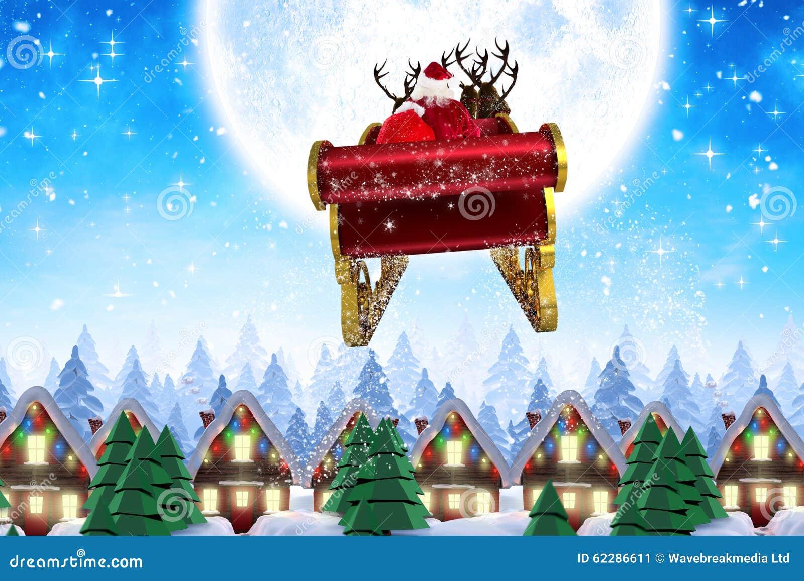 Samengesteld beeld van santa die zijn ar vliegen