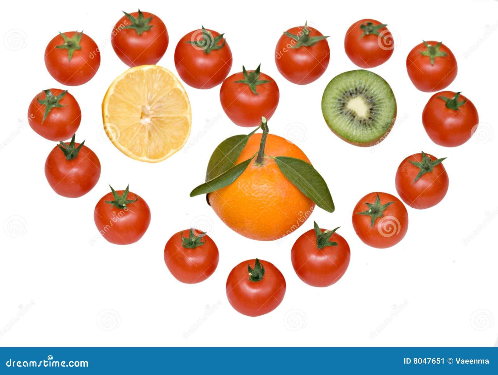 Samenstelling die liefde voor vruchten symboliseert