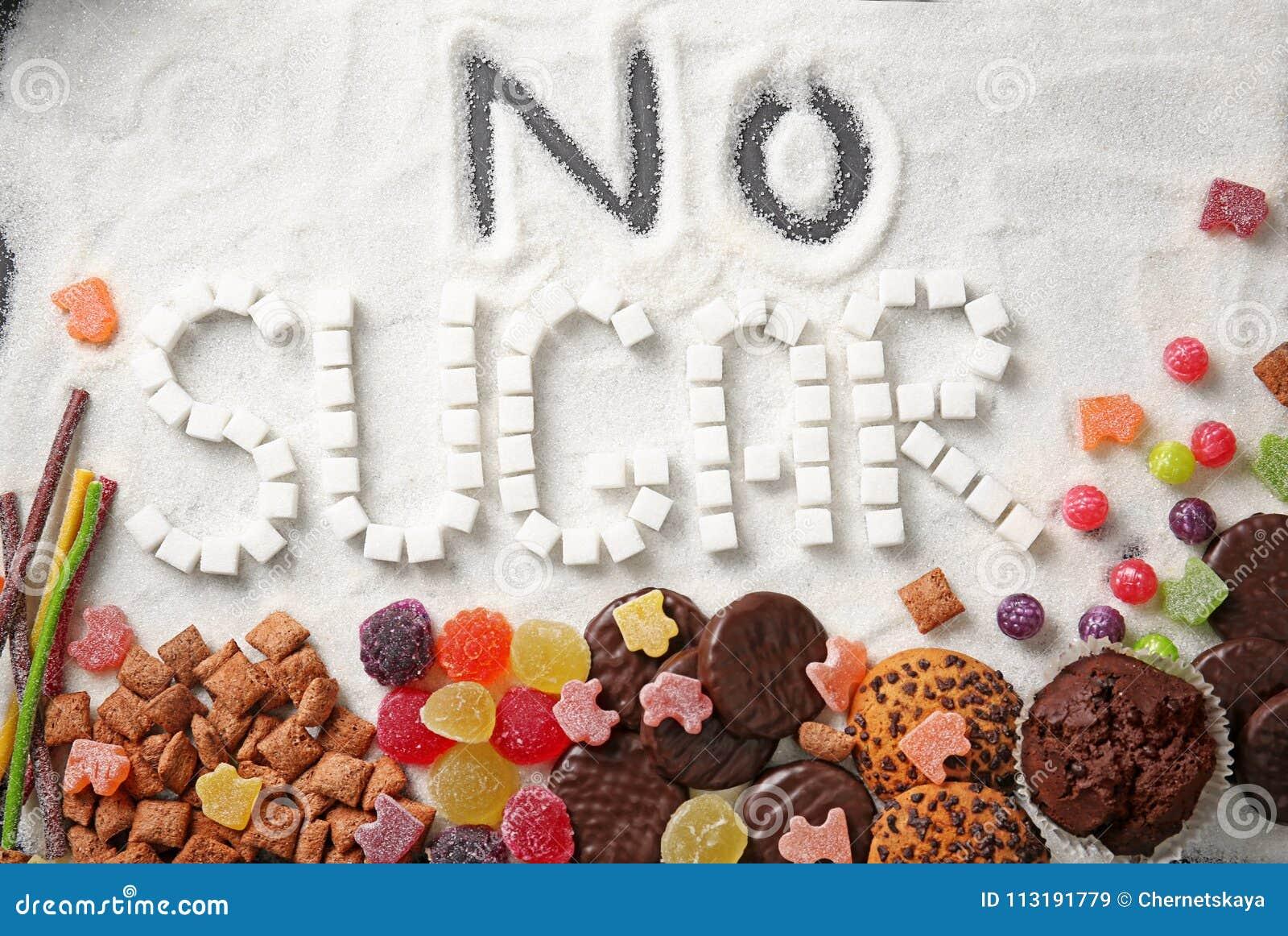 Samenstelling met uitdrukking GEEN SUIKER en snoepjes op suikerzand