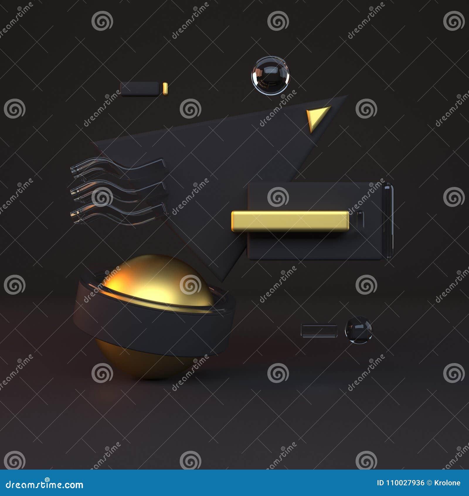 Samenvatting 3D van gouden voorwerpen op zwarte achtergrond