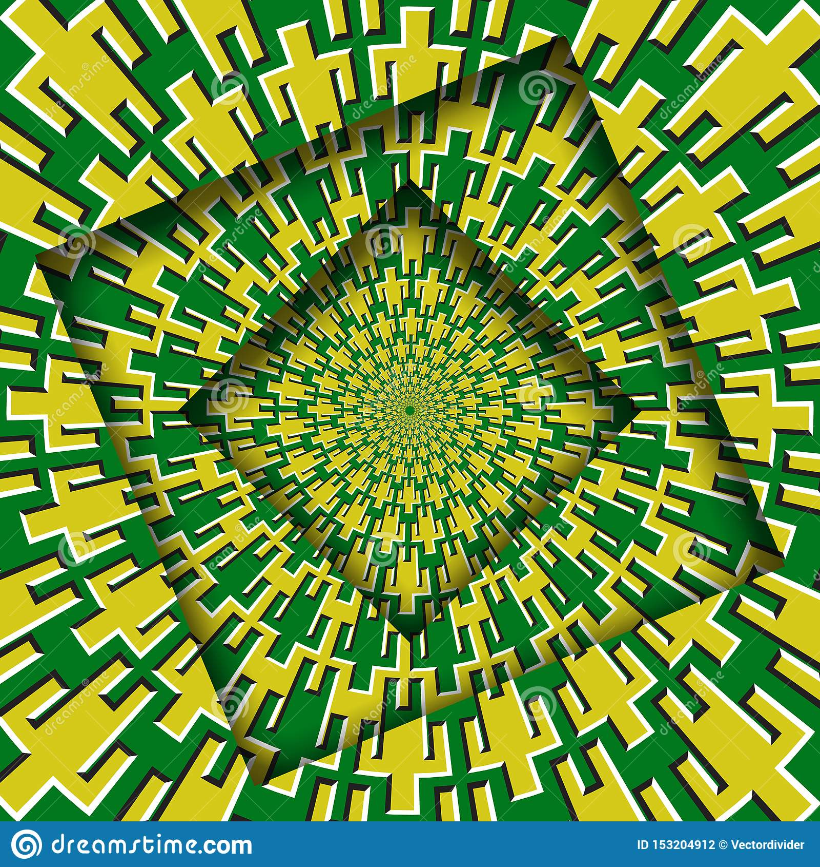 Samenvatting gedraaide kaders met een roterend geelgroen patroon van mensensymbolen Optische illusie hypnotic achtergrond
