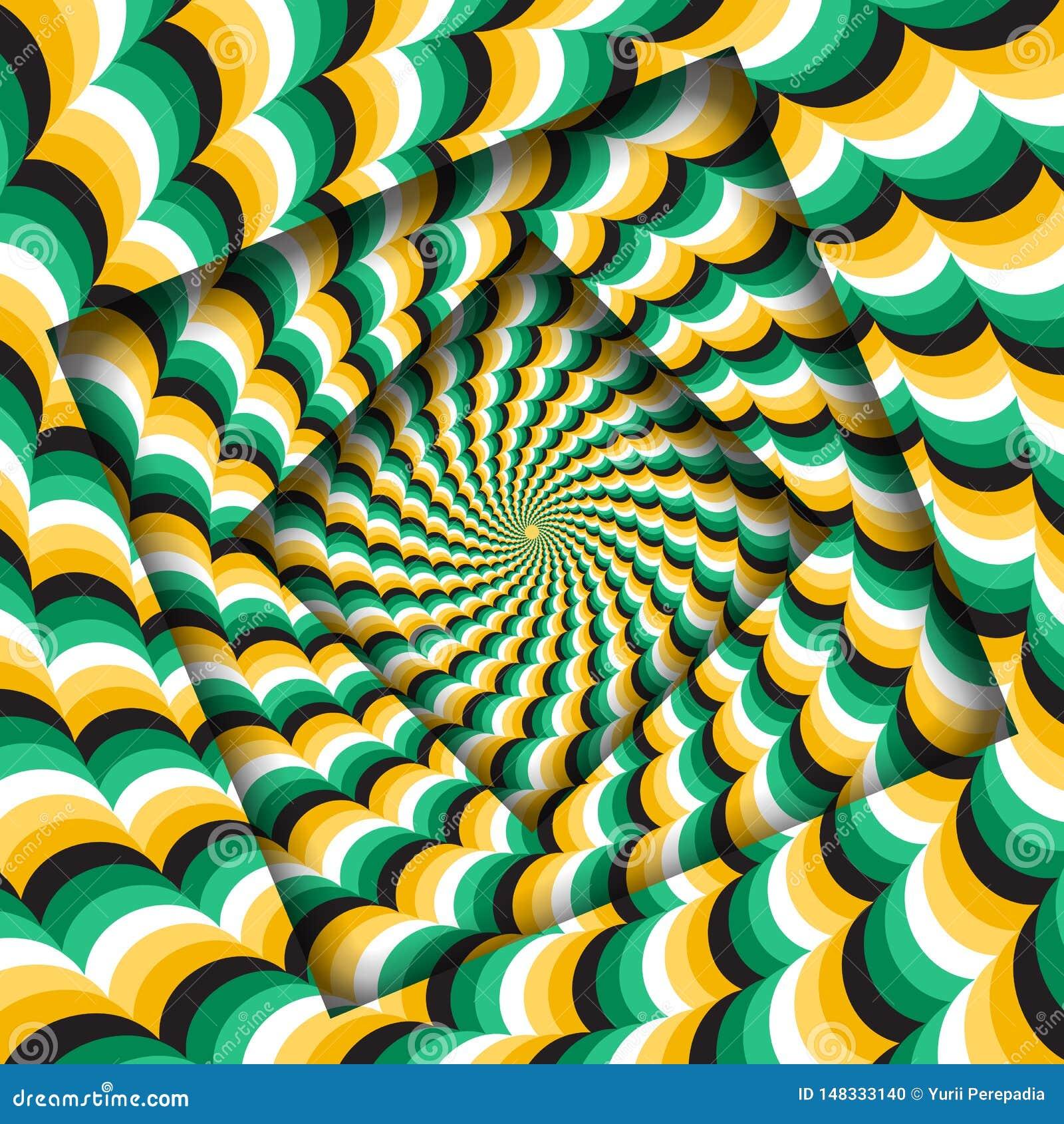 Samenvatting gedraaide kaders met een roterend groen geel golvend patroon De Achtergrond van de optische illusie