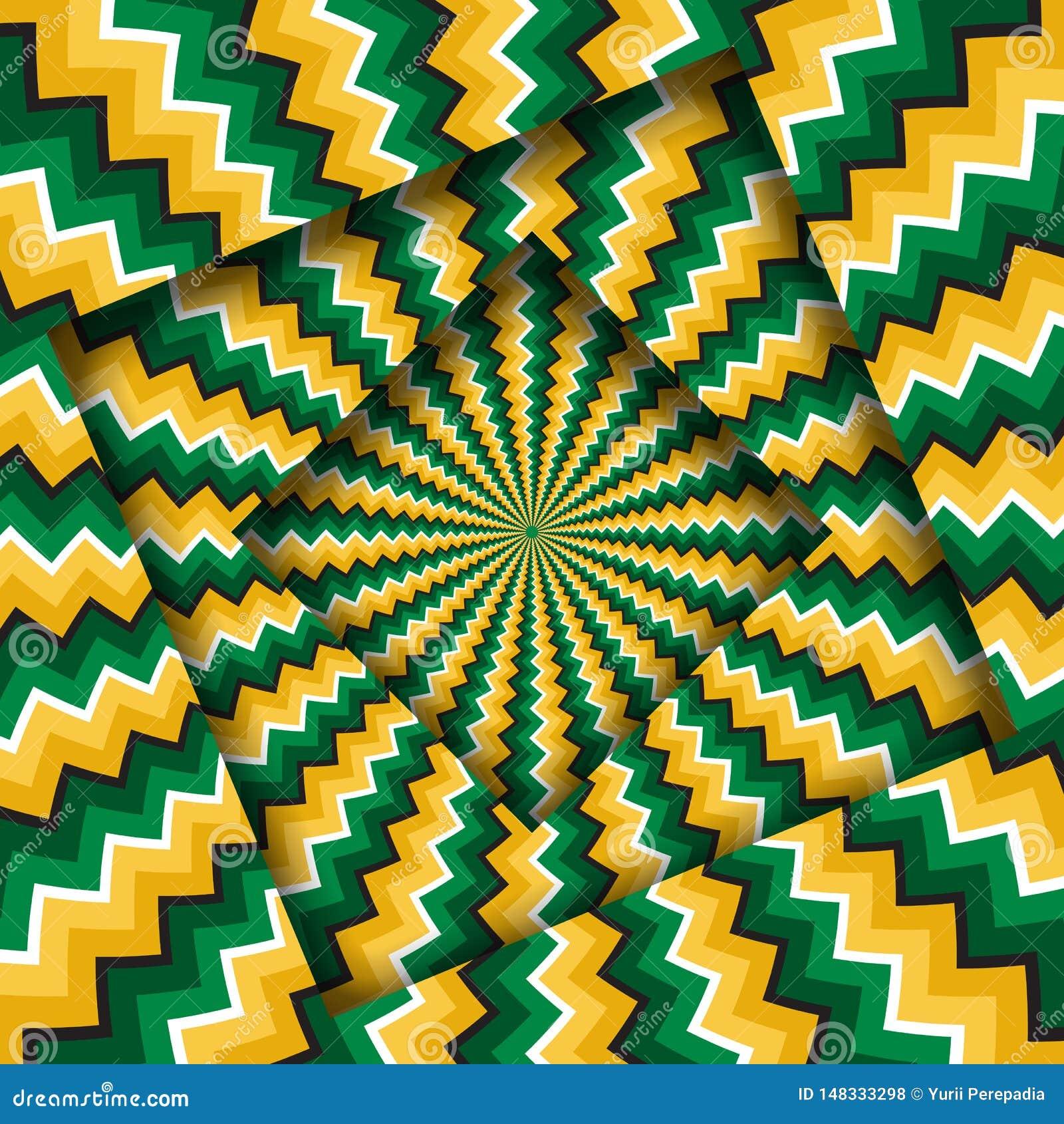 Samenvatting gedraaide kaders met een roterend groen geel zigzagpatroon De Achtergrond van de optische illusie