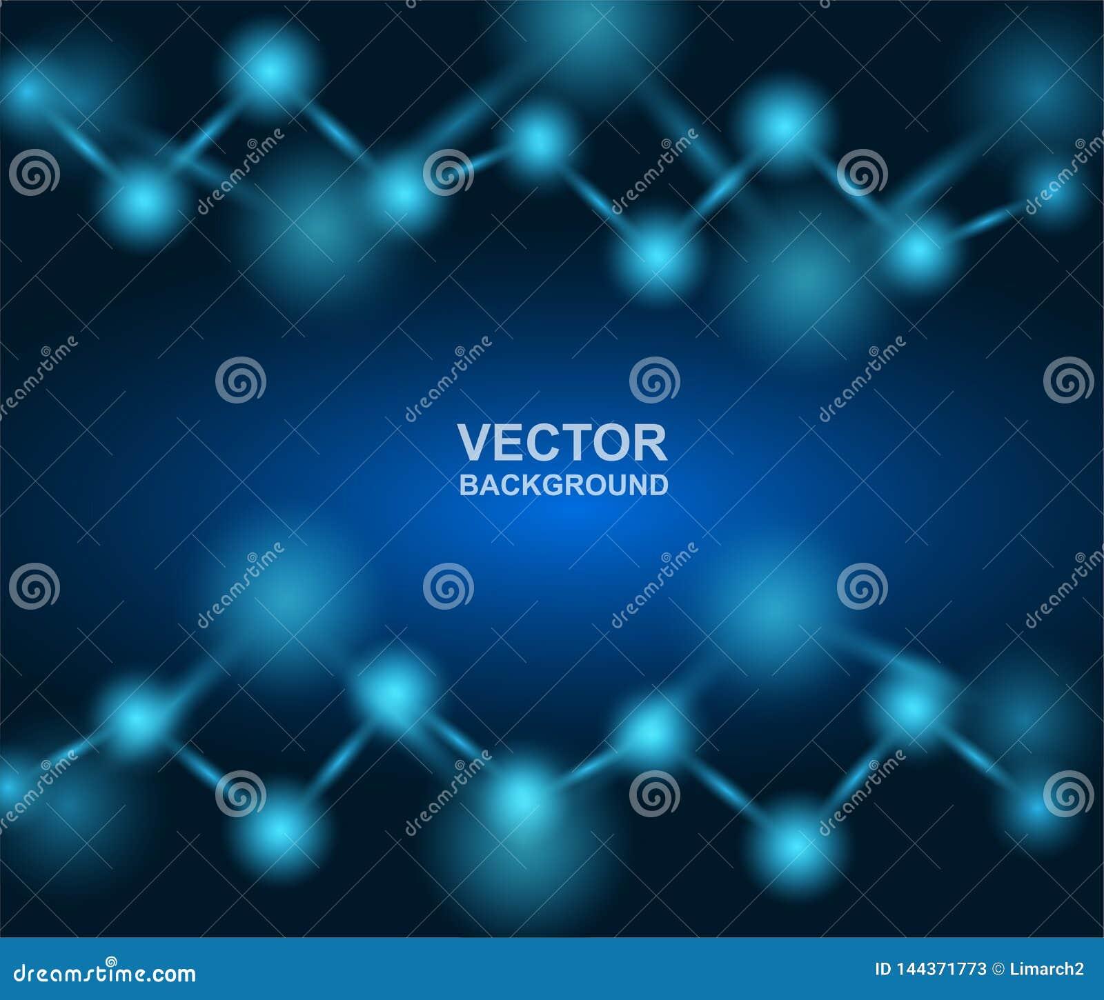 Samenvatting Moleculesontwerp atomen Medische of Wetenschapsachtergrond Moleculaire structuur met blauwe sferische deeltjes Vecto