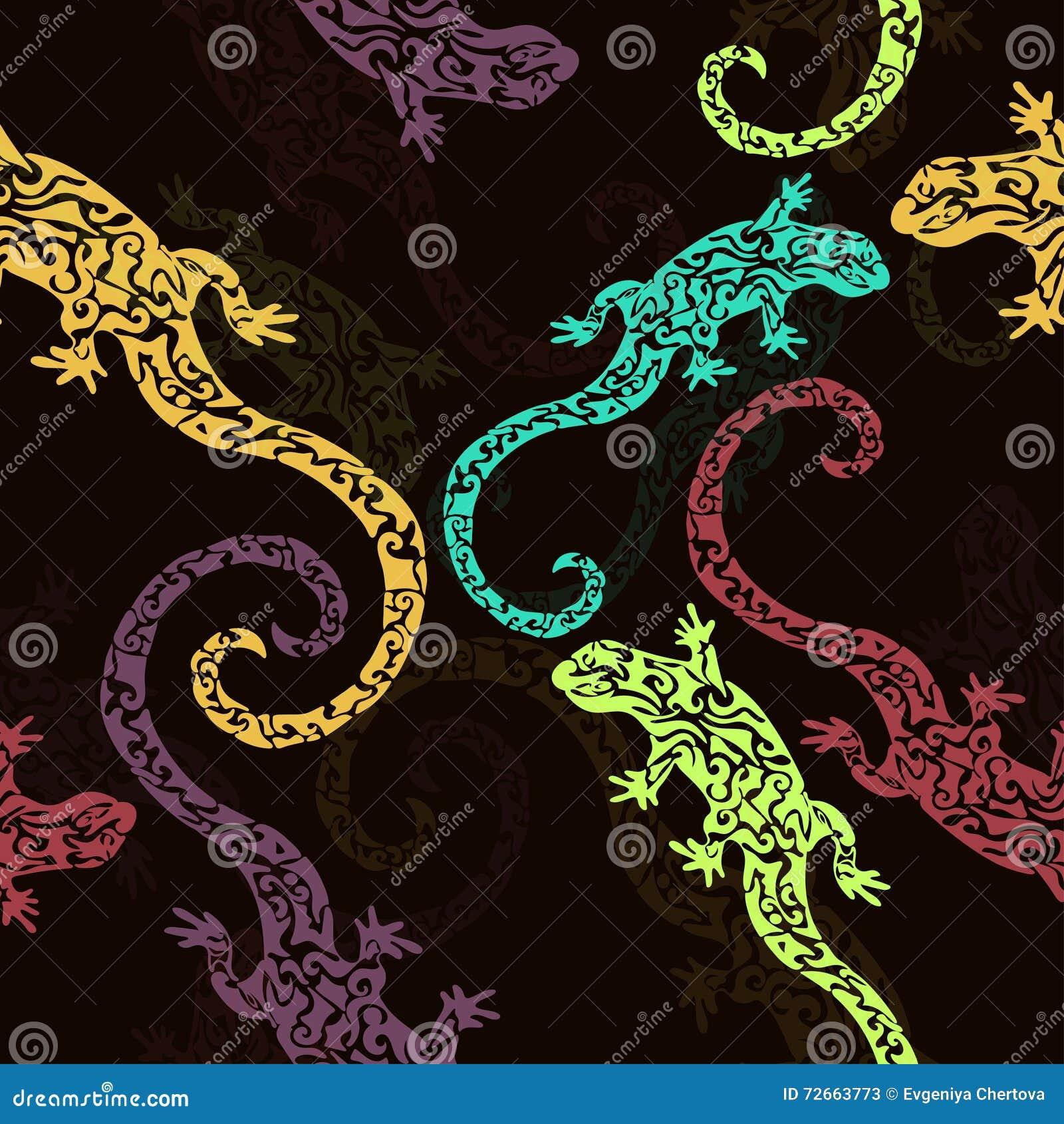 Samenvatting voorgestelde hagedissen, naadloos patroon, druk Multicolored reptiel op een donkere achtergrond Voor stoffenontwerp,