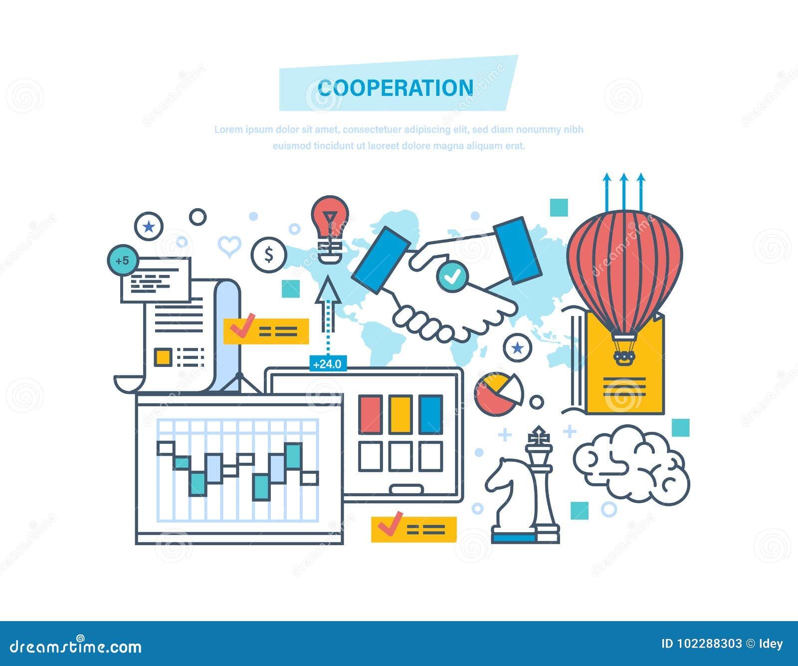 Samenwerking, groepssamenwerking, vennootschappen, groepswerk, marketing, transactie