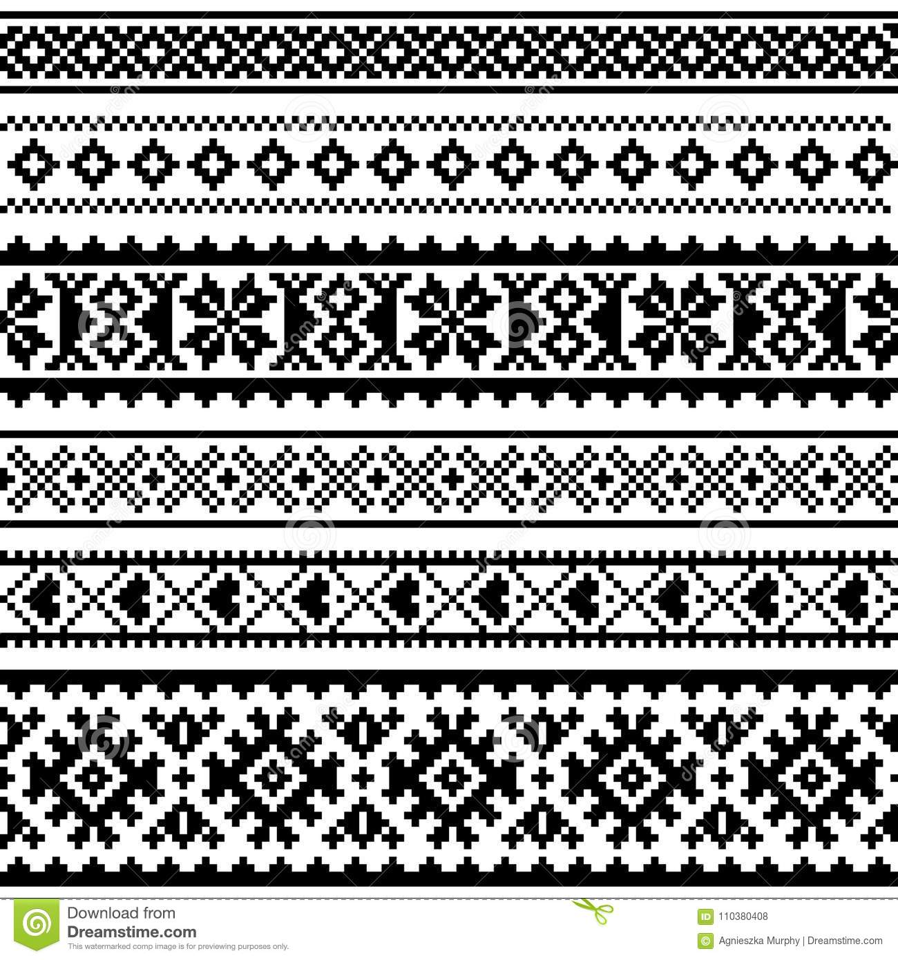 Sami Seamless Pattern Lapland Folk Art Traditional Knitting And Embroidery Monochrome Design Stock Vector Illustration Of Nordic Oblast 110380408