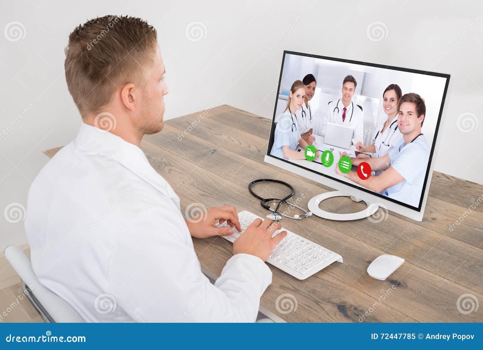 Samiec Doktorska Wideo konferencja Na komputerze