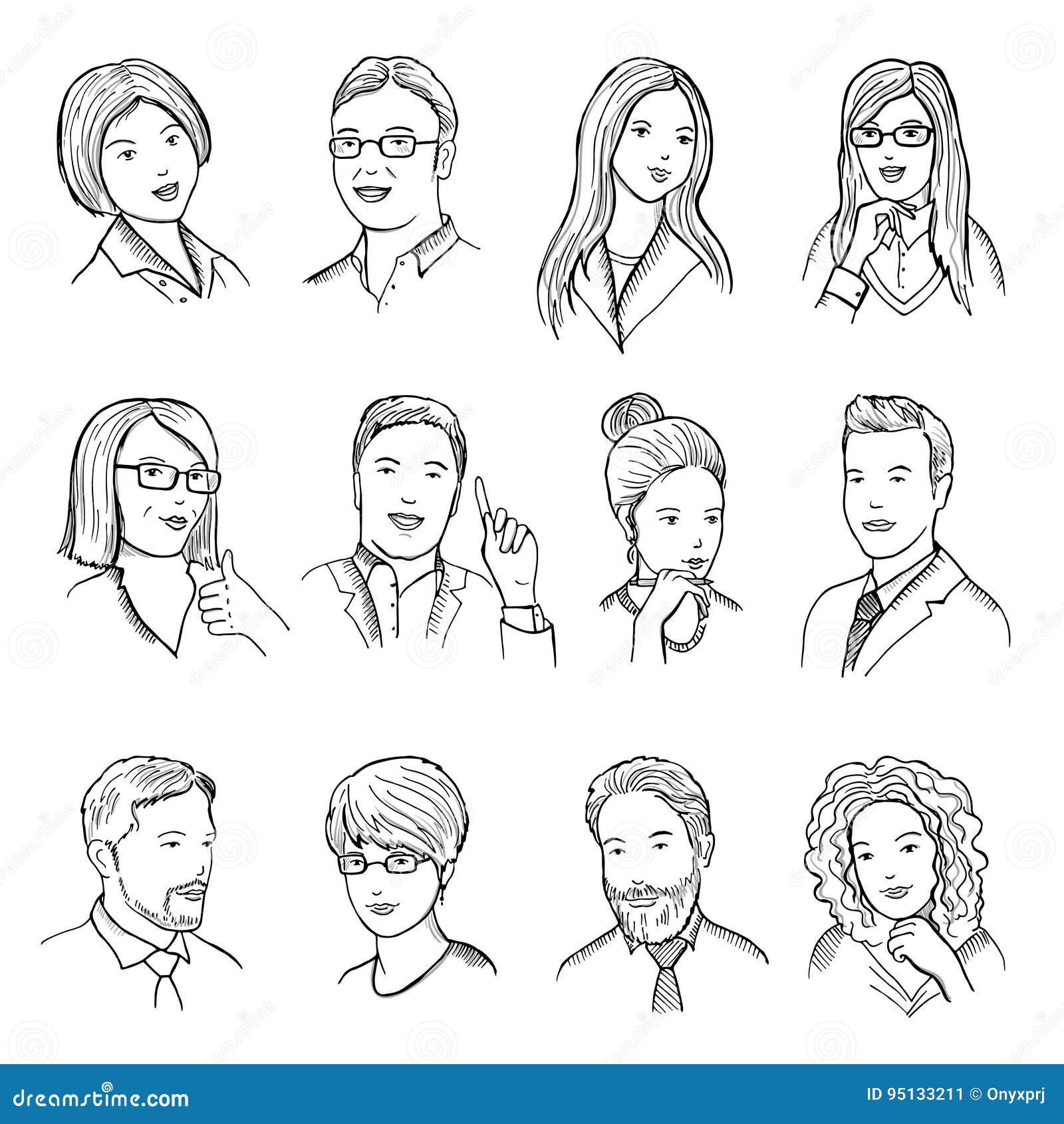 Samiec i żeńska ręka rysować ilustracje dla piktogramów lub sieci avatars Różne biznes twarze z śmiesznymi emocjami
