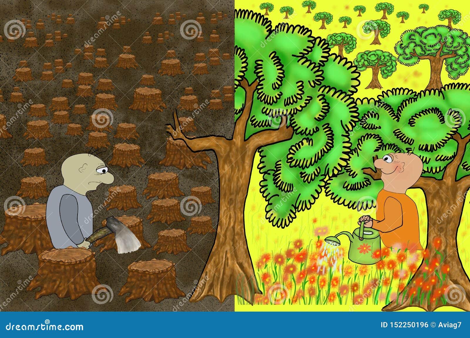 Samiec z cioską w lasowej zemscie natura Ponury krajobraz powalać drzewni bagażniki Pojęcie ekologia z drzewnym tłem