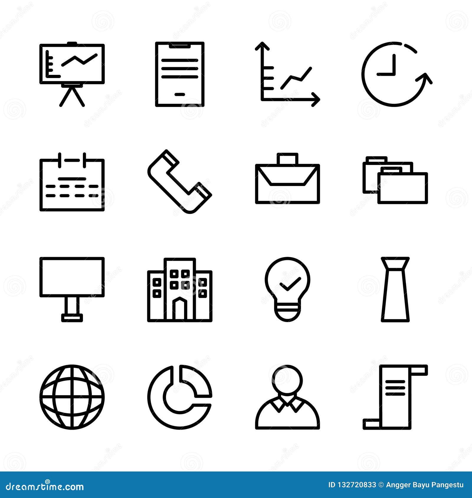Samling av affärssymbolsuppsättningen passande för att marknadsföra, finans och annan släkt affär