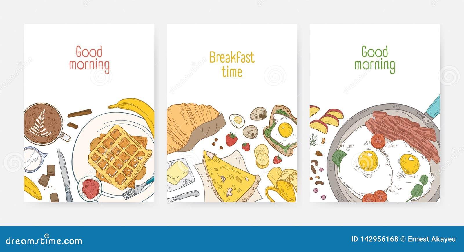 Samling av affisch- eller kortmallar med smakliga sunda frukostmål och morgonmat - stekte ägg, rån, kaffe