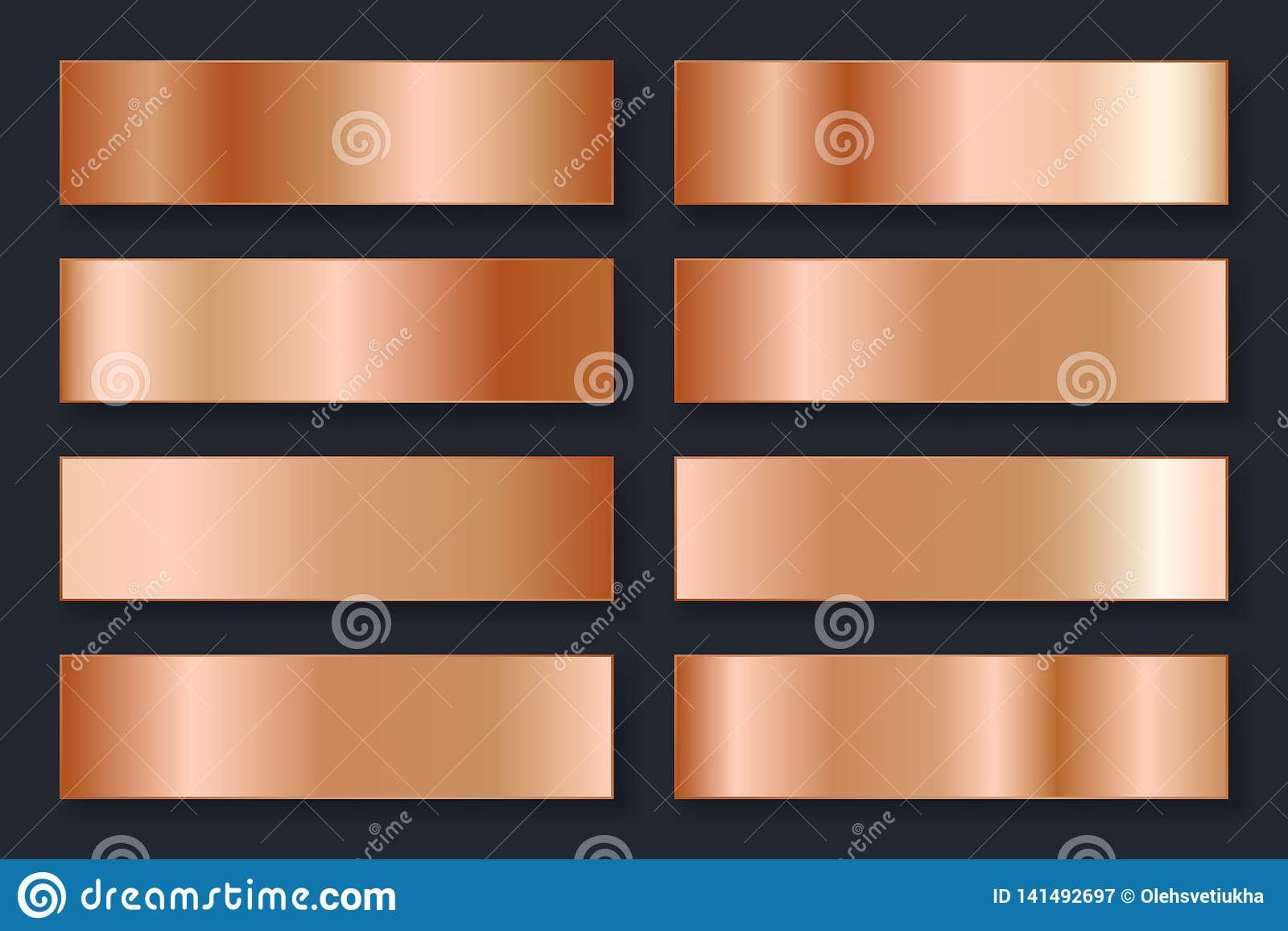 Samling av bakgrunder med en metallisk lutning Briljantplattor med bronseffekt också vektor för coreldrawillustration