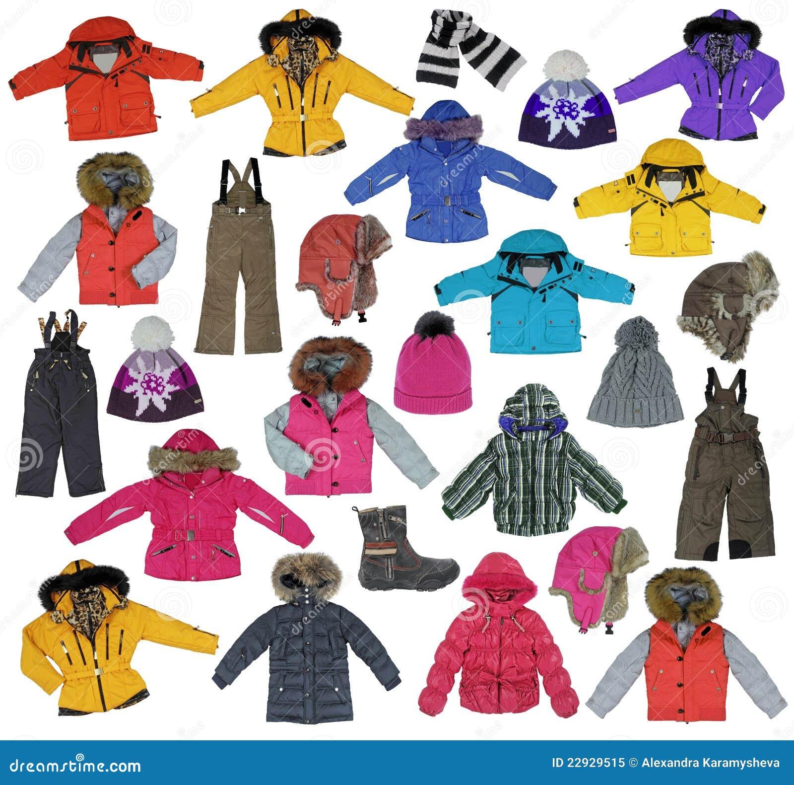 Samling av barn 39 s vinterkl der royaltyfri foto bild 22929515 - Les vetements d hiver ...