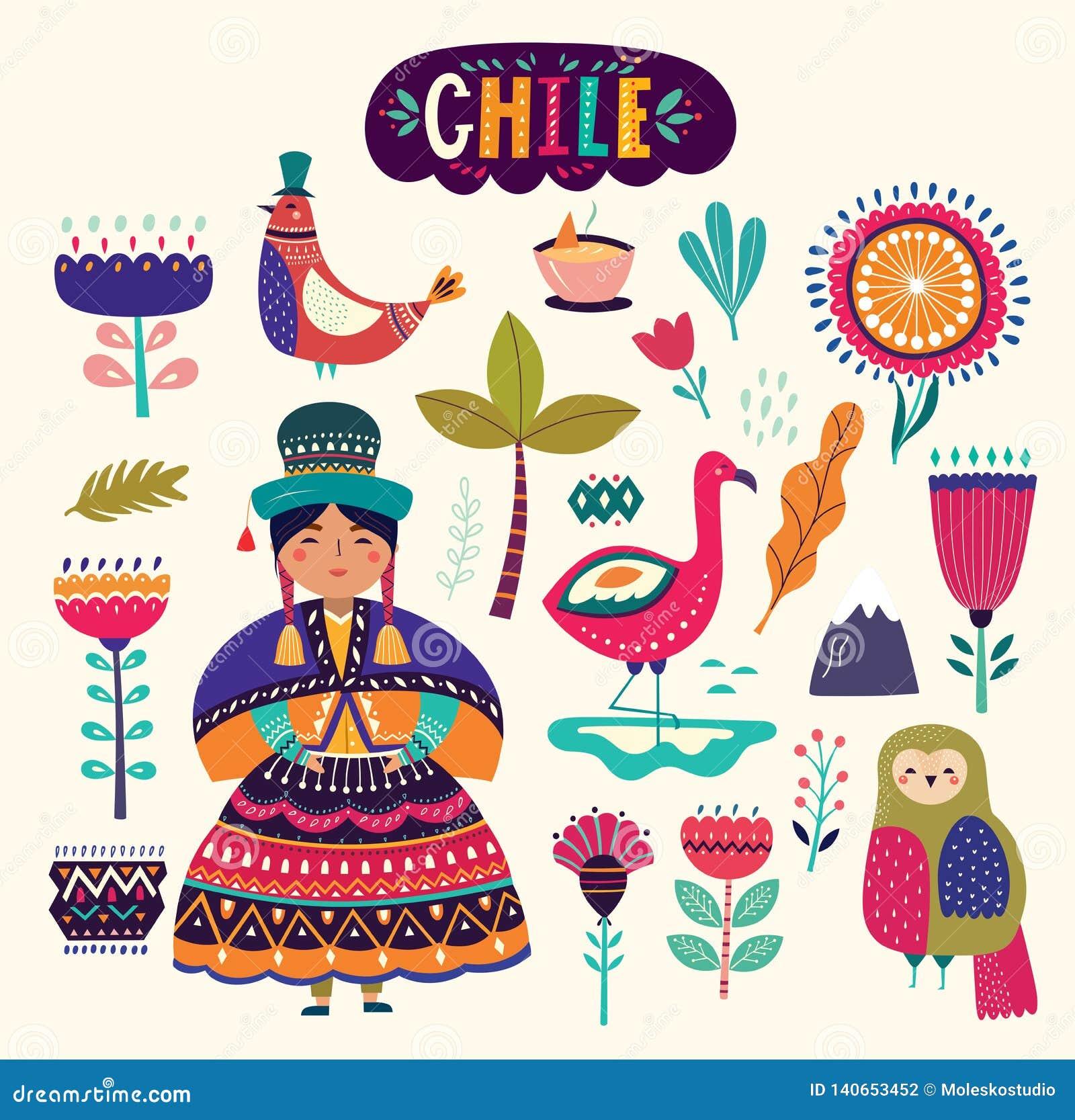 Samling av Chile symboler