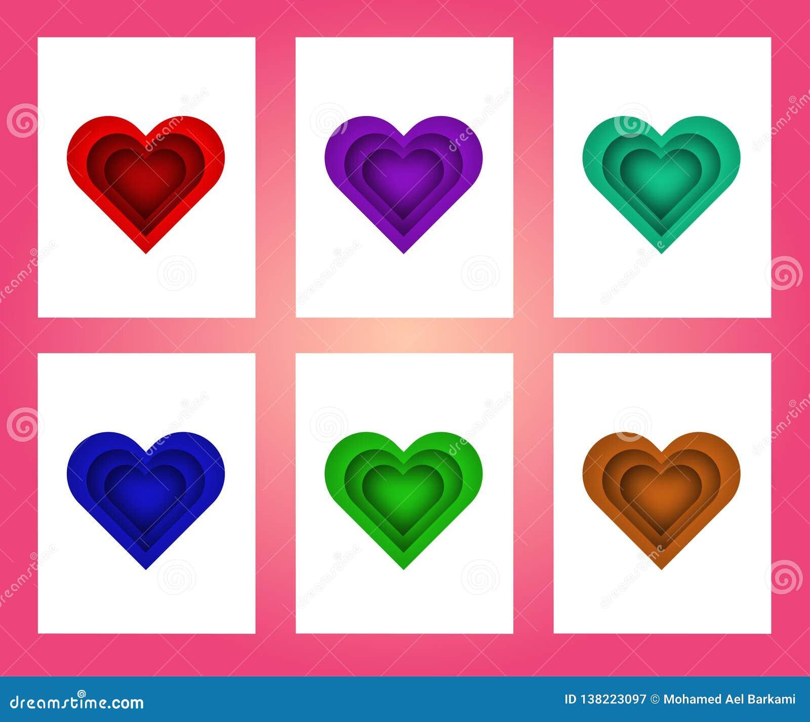 Samling av det rosa, röda, gröna vita kulöra valentin dagkortet