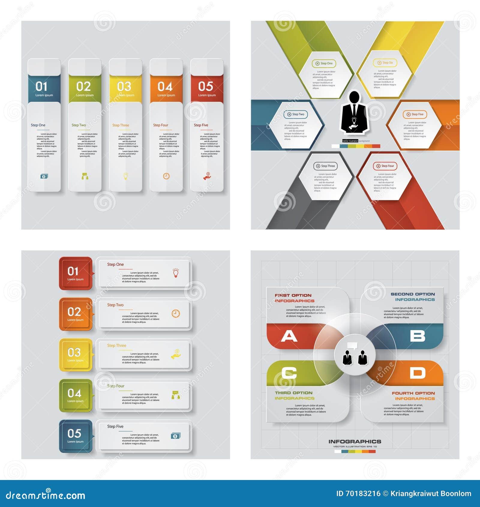 Samling av 4 färgrika presentationsmallar för design Det kan vara nödvändigt för kapacitet av designarbete