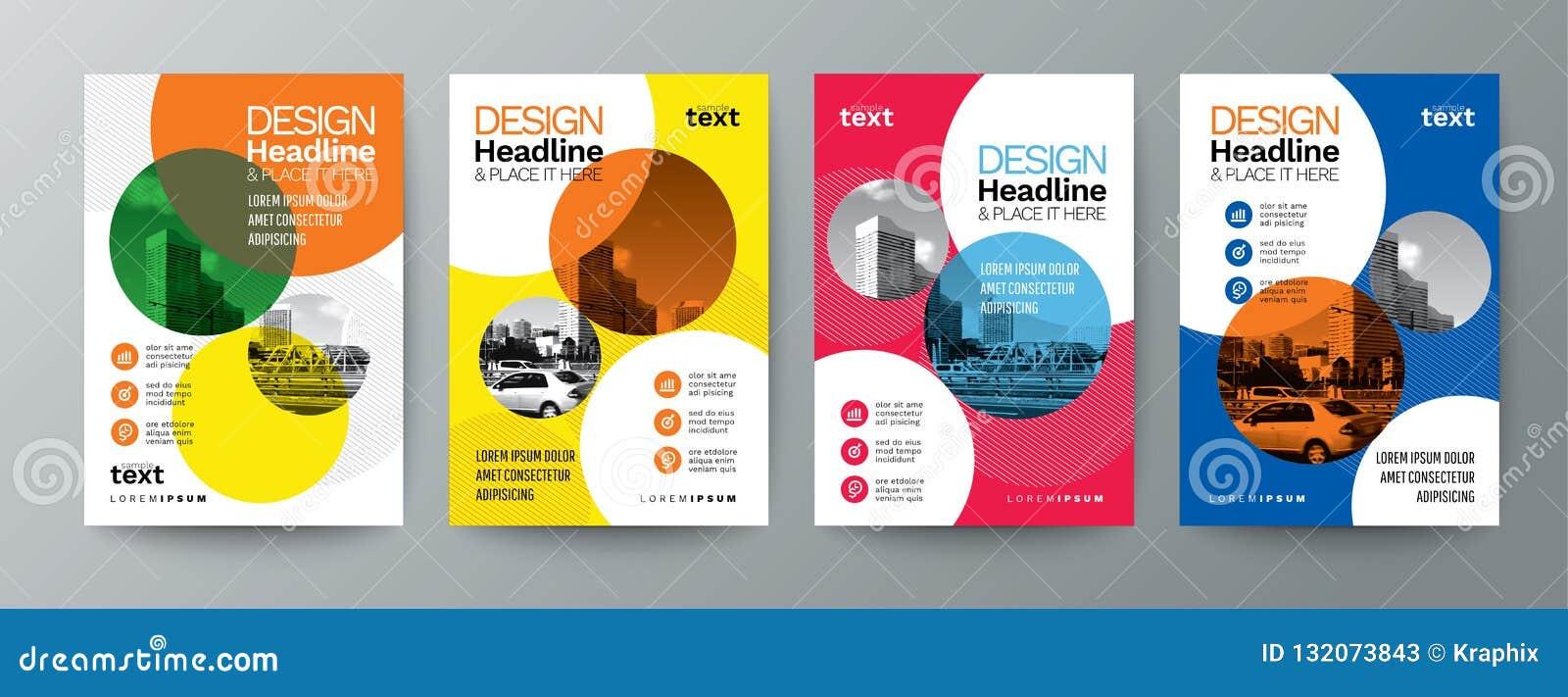 Samling av för affischreklamblad för modern design orientering t för räkning för broschyr