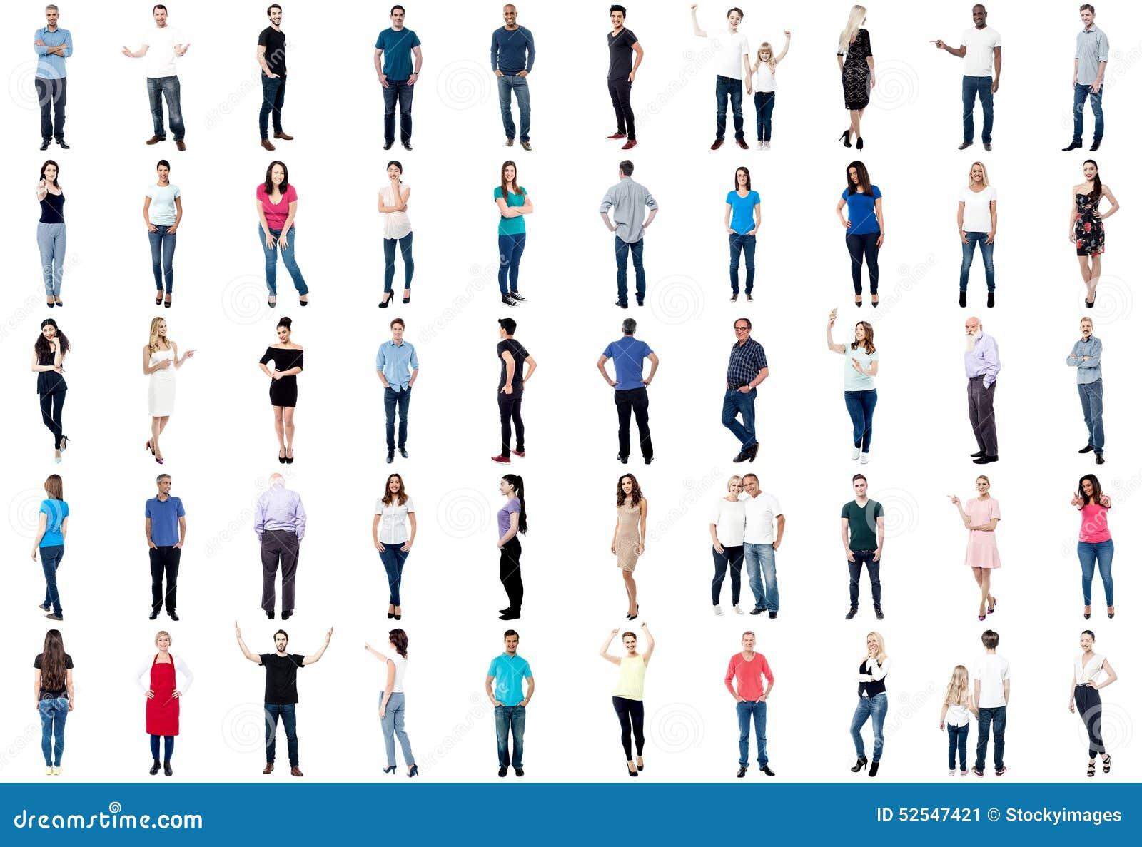 Samling av full längd diversifierat folk