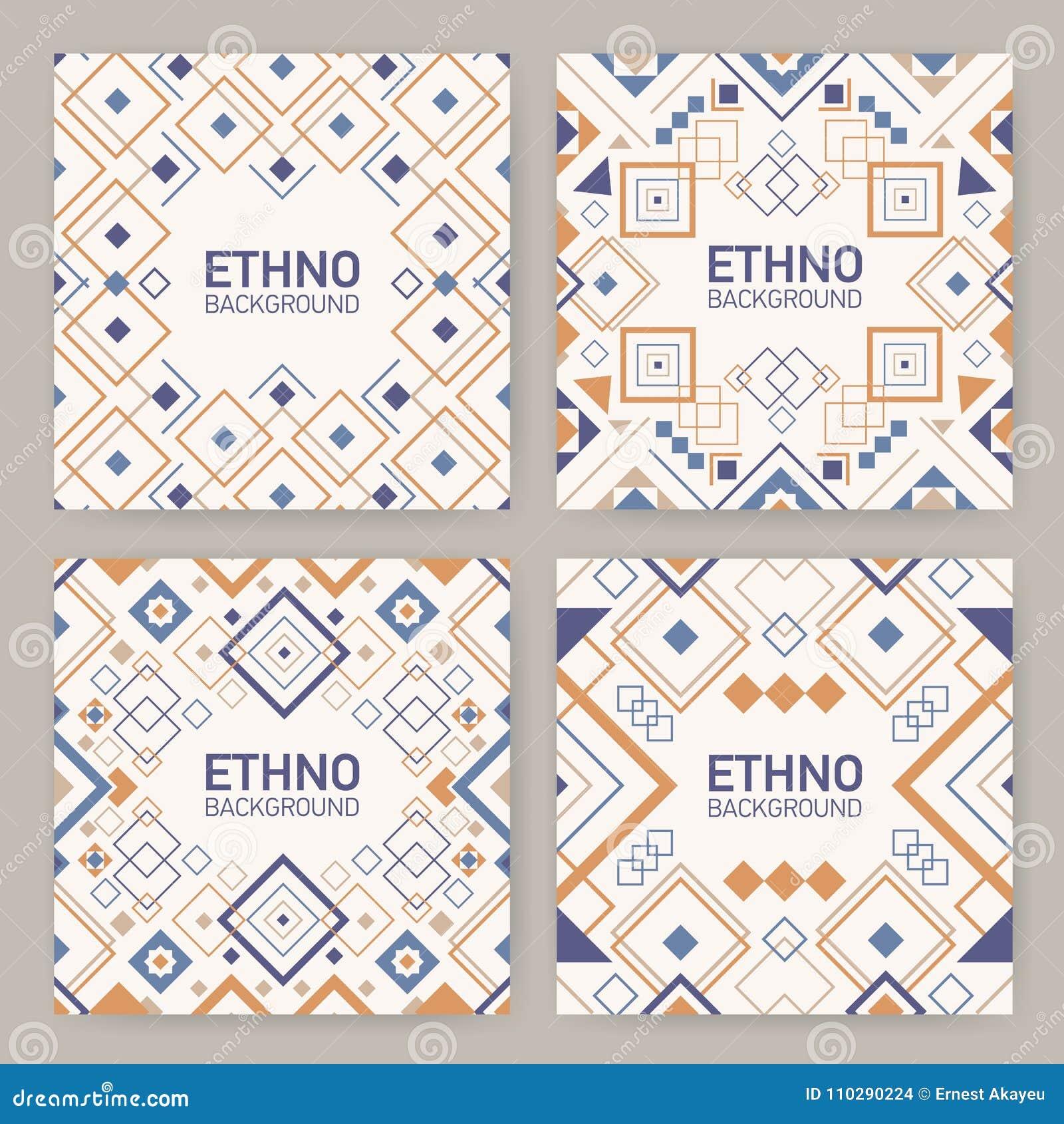 Samling av fyrkantiga bakgrunder med traditionella geometriska Aztecprydnader, dekorativa ramar eller gränser Packe av