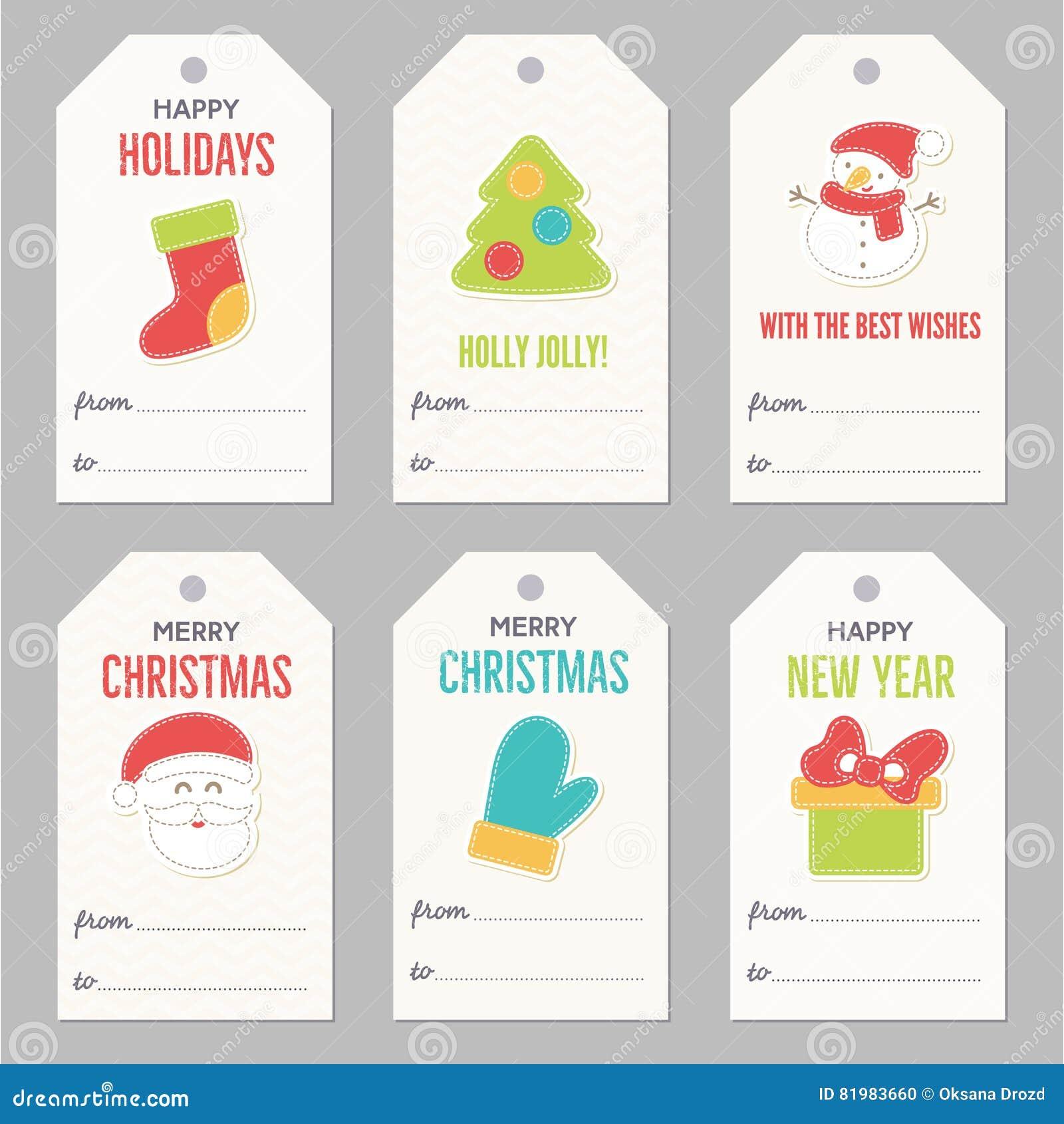 Samling av gåvaetiketter för nytt år och jul
