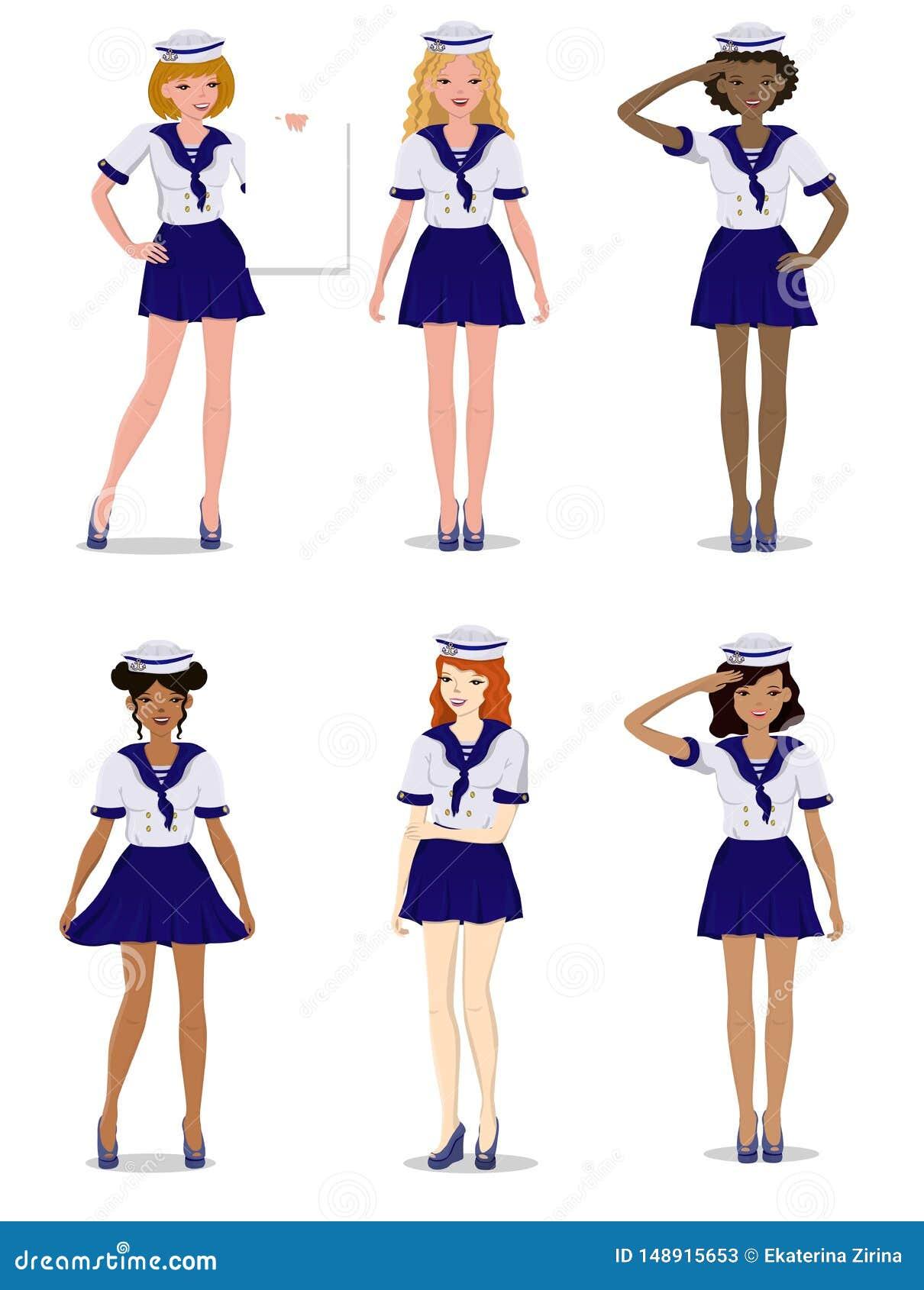 Samling av härliga flickor i form av en stilfull sjöman, vektorillustration