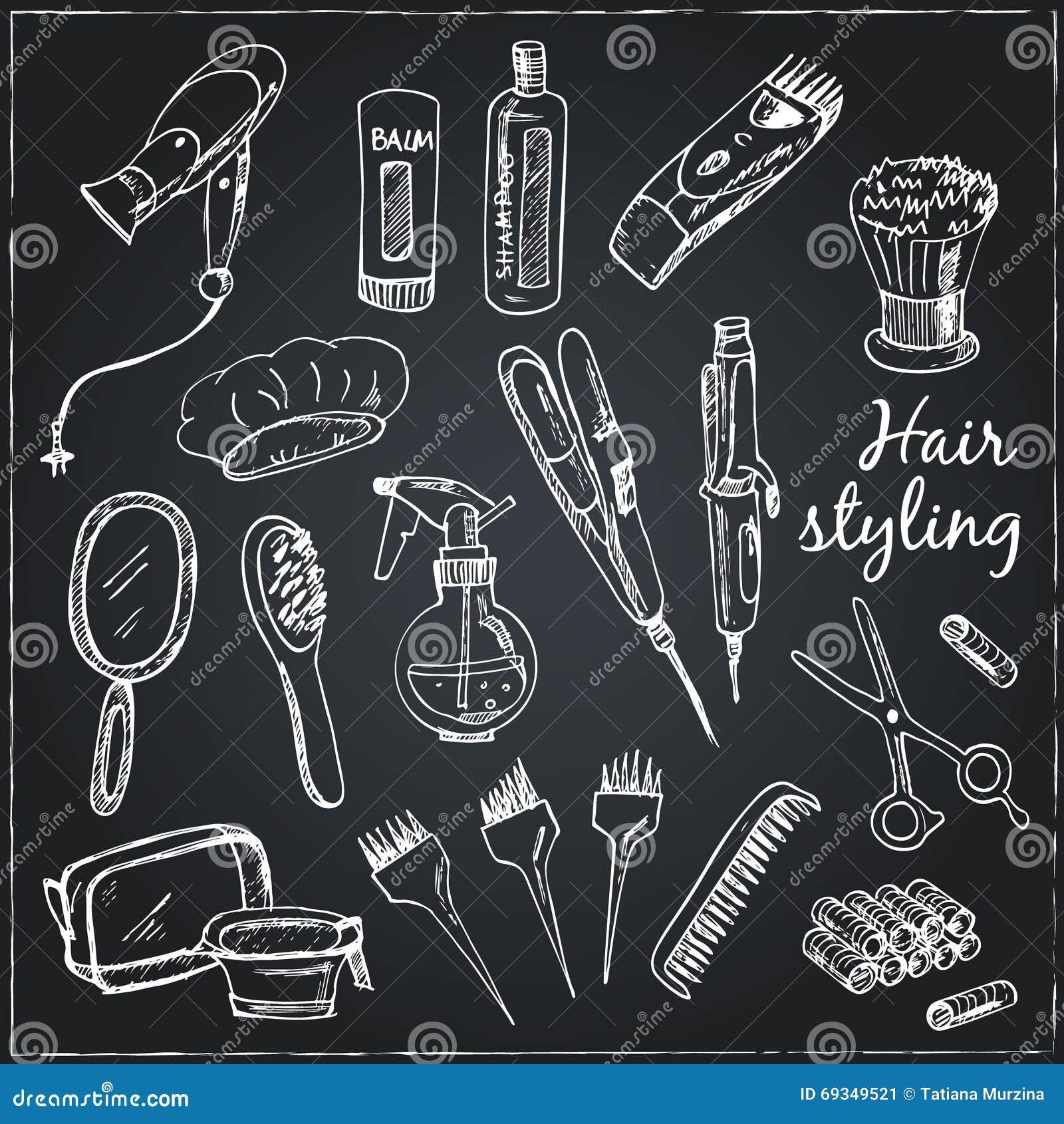 Samling av hand drog hjälpmedel för smink och frisyr