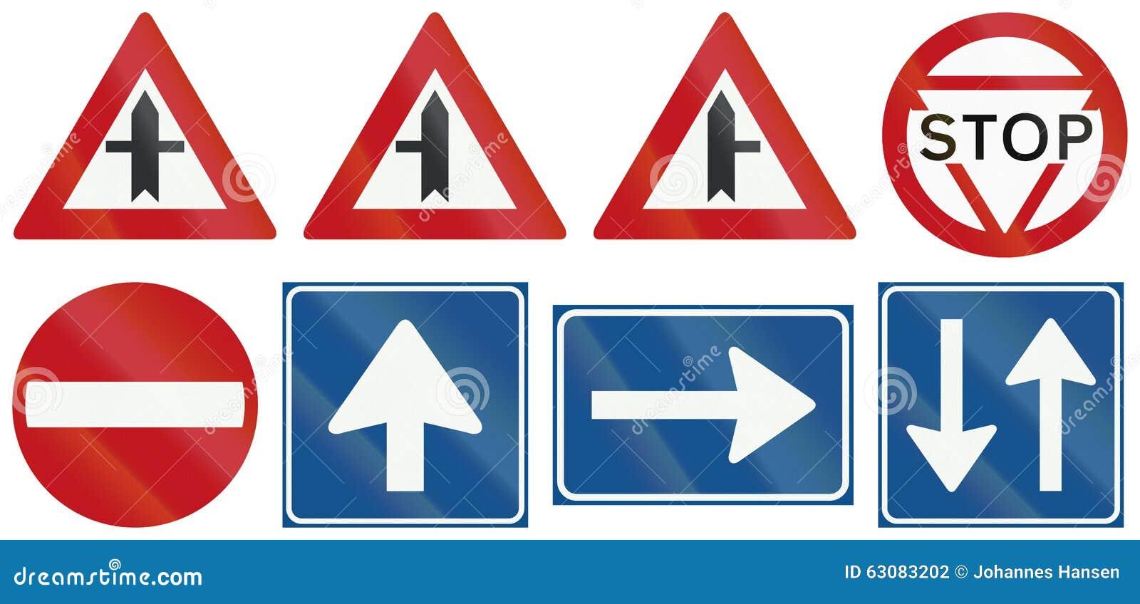 Samling av holländska reglerande vägmärken