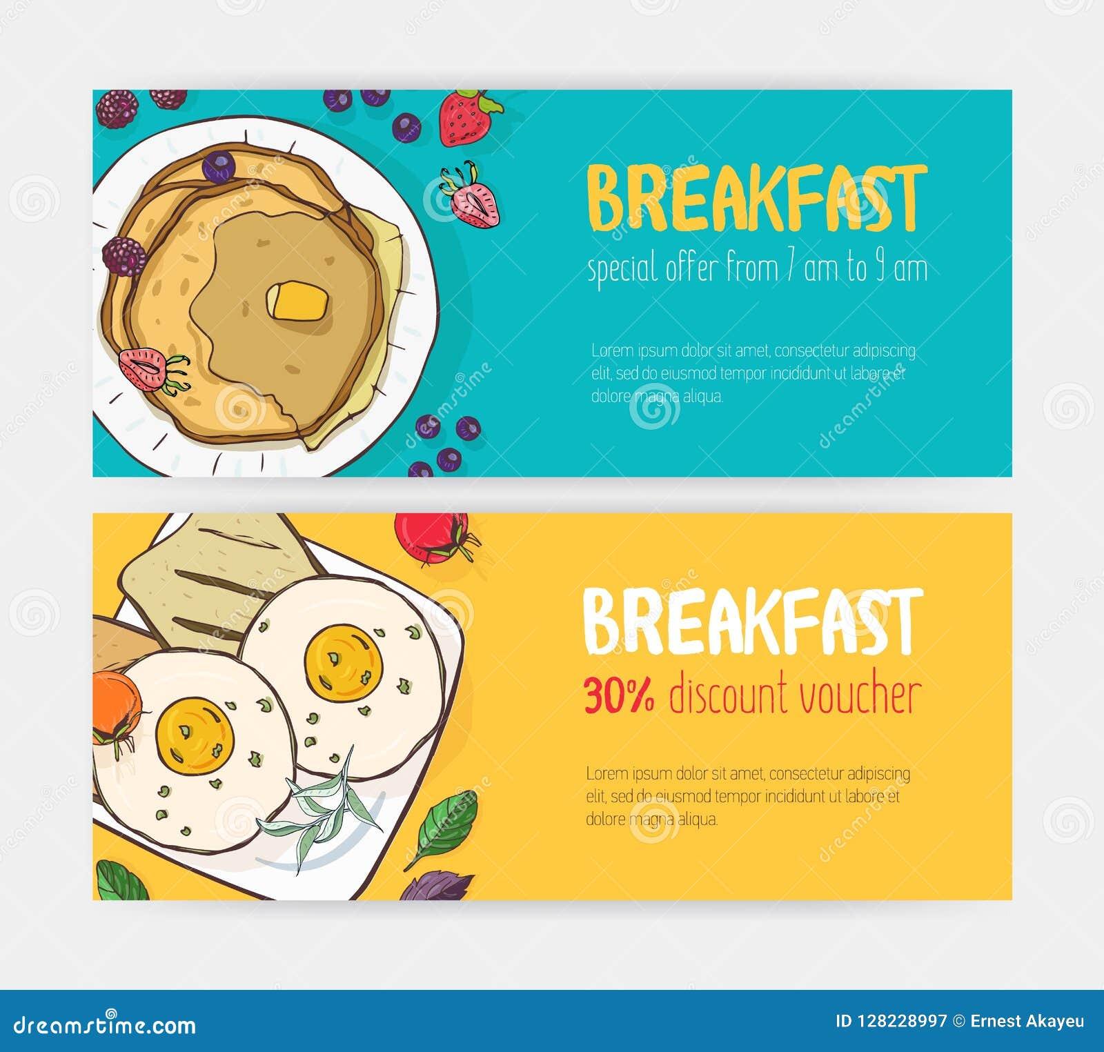 Samling av horisontalrabattkupong- eller kupongmallar med läckra frukostmål som ligger på plattor brigham