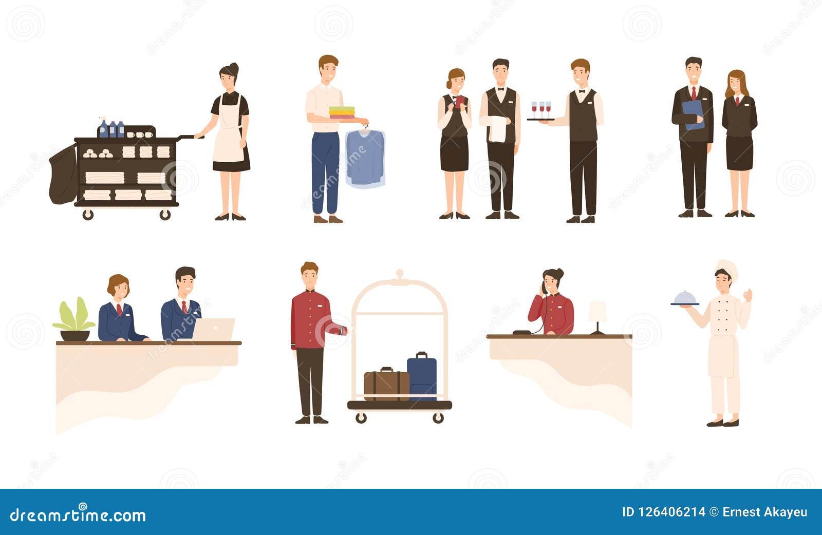 Samling av hotellpersonalen - receptionist, hembiträde- eller hushållningservice och medföljande arbetare för tvätteri, uppassare