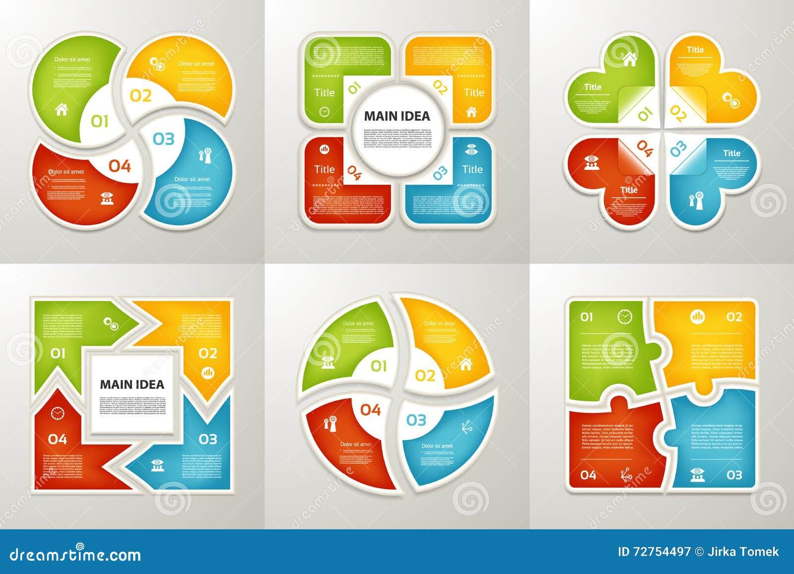 Samling av Infographic mallar för affär Fyra moment som cyklar diagram också vektor för coreldrawillustration