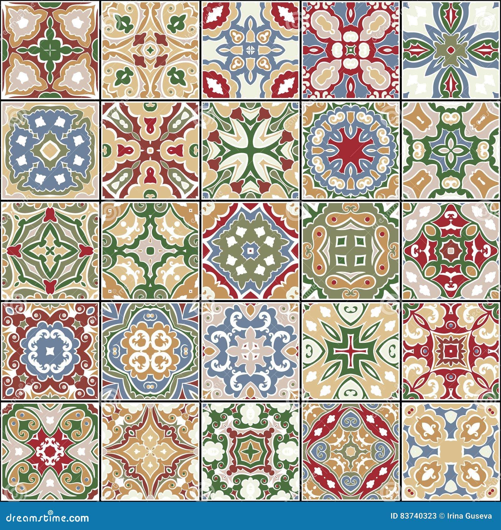 Samling av keramiska tegelplattor