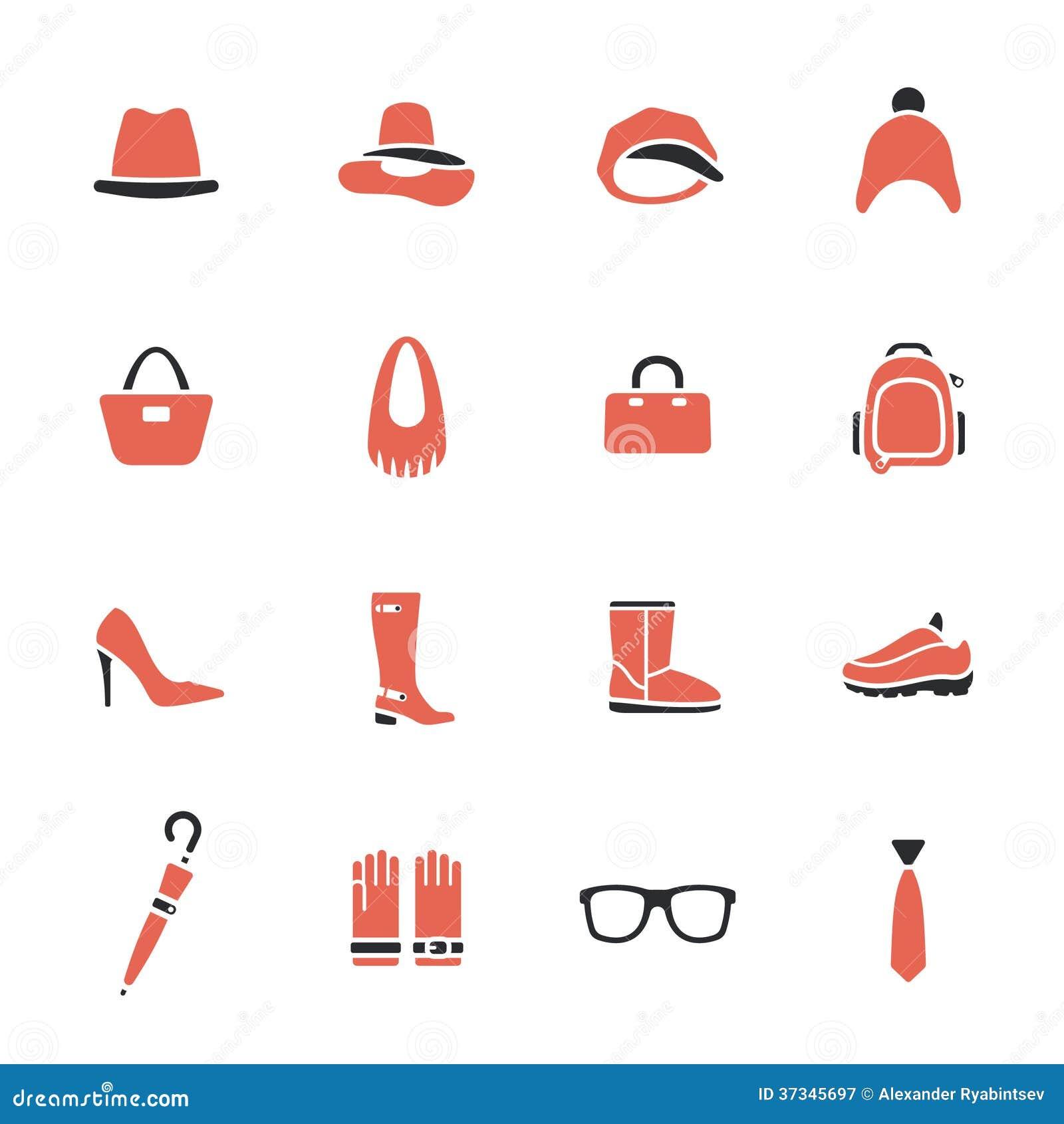 Samling av kläder och tillbehör