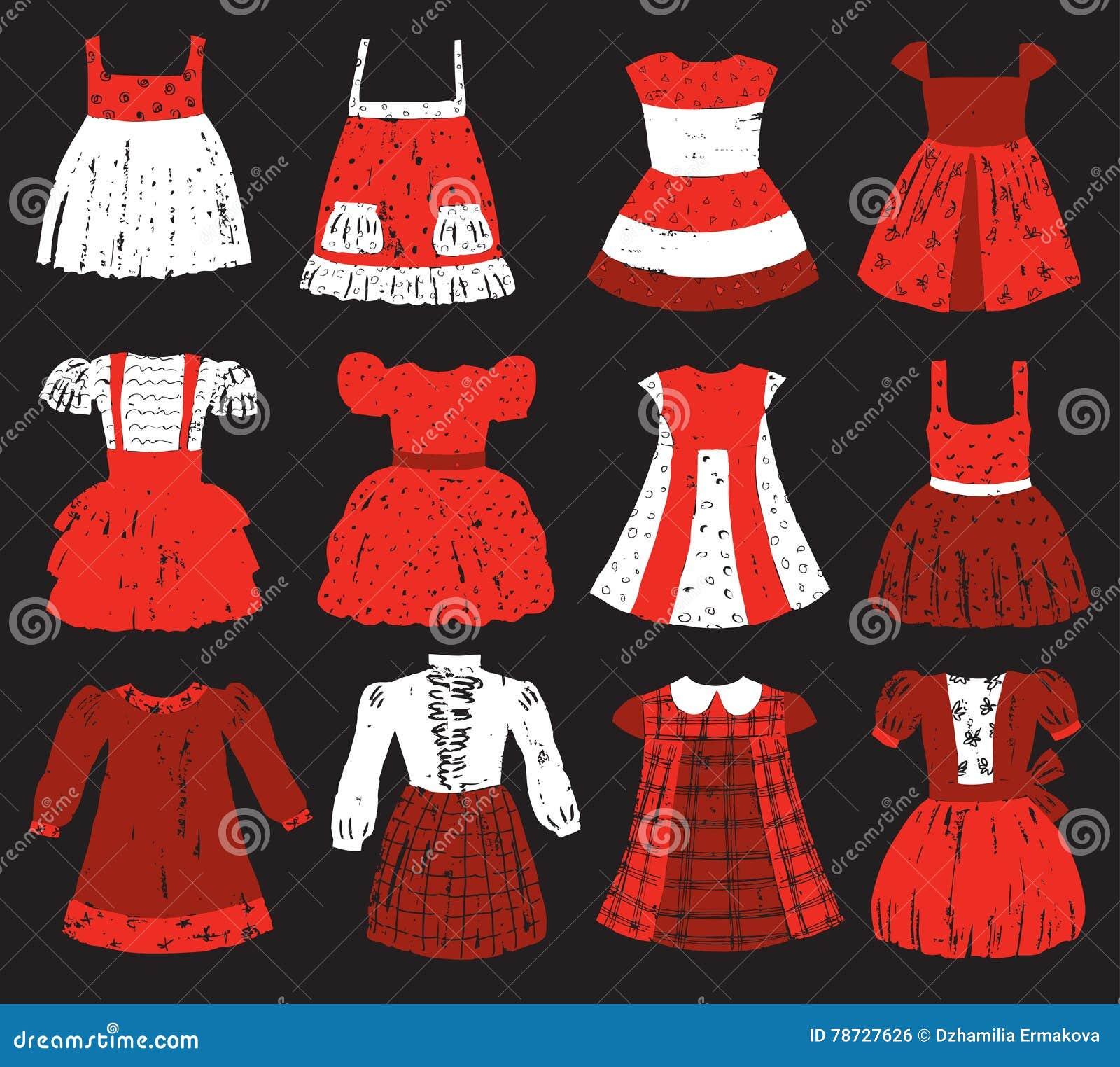 Samling av klänningarna för lite flicka