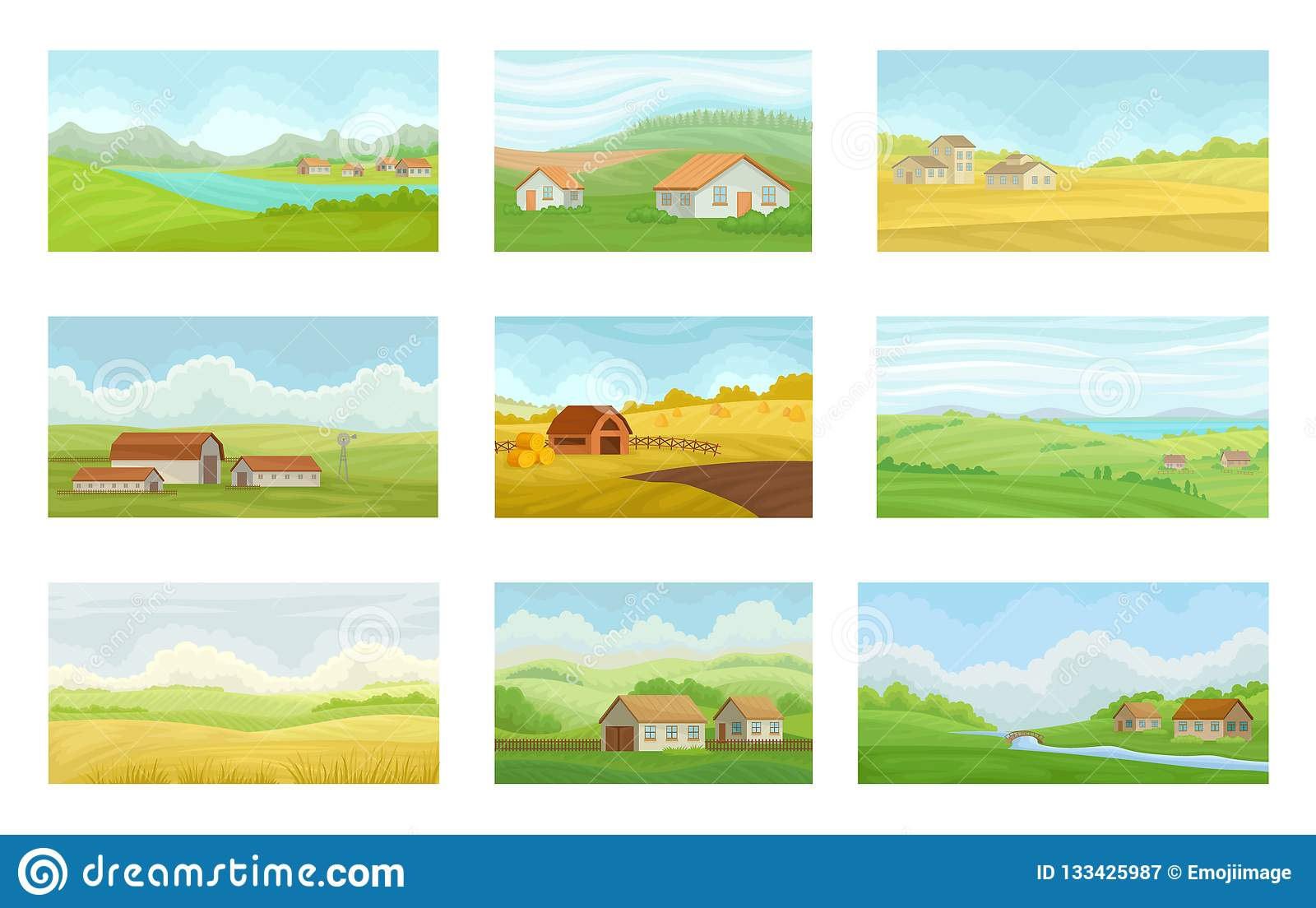 Samling av lantliga landskap för sommar med byhus, äng med grönt och gult gräs, åkerbrukt och att bruka