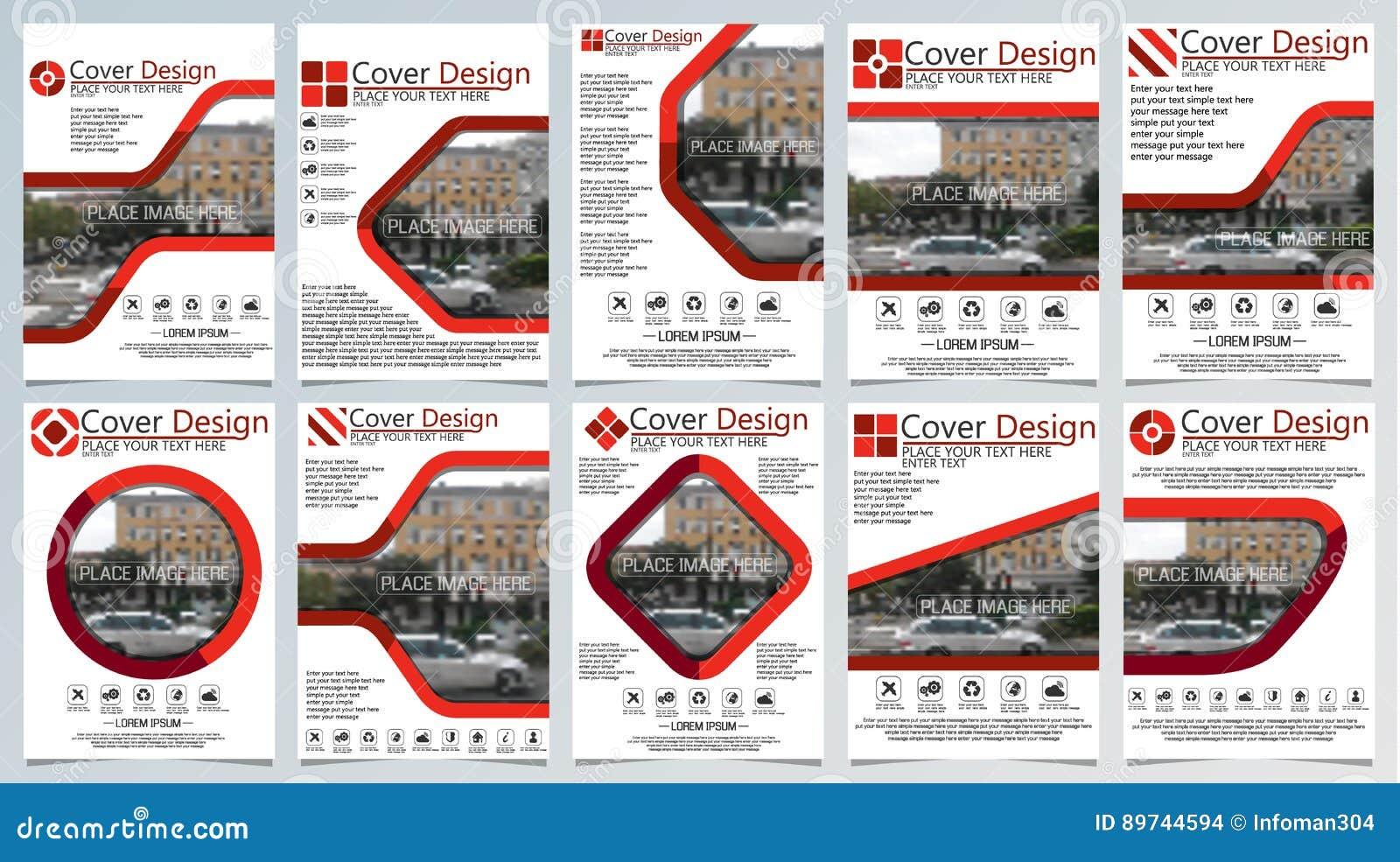 Samling av mallen för tio broschyr för årlig teknologi släkta reposts, orientering för vektordesign a4 med utrymme för text och f
