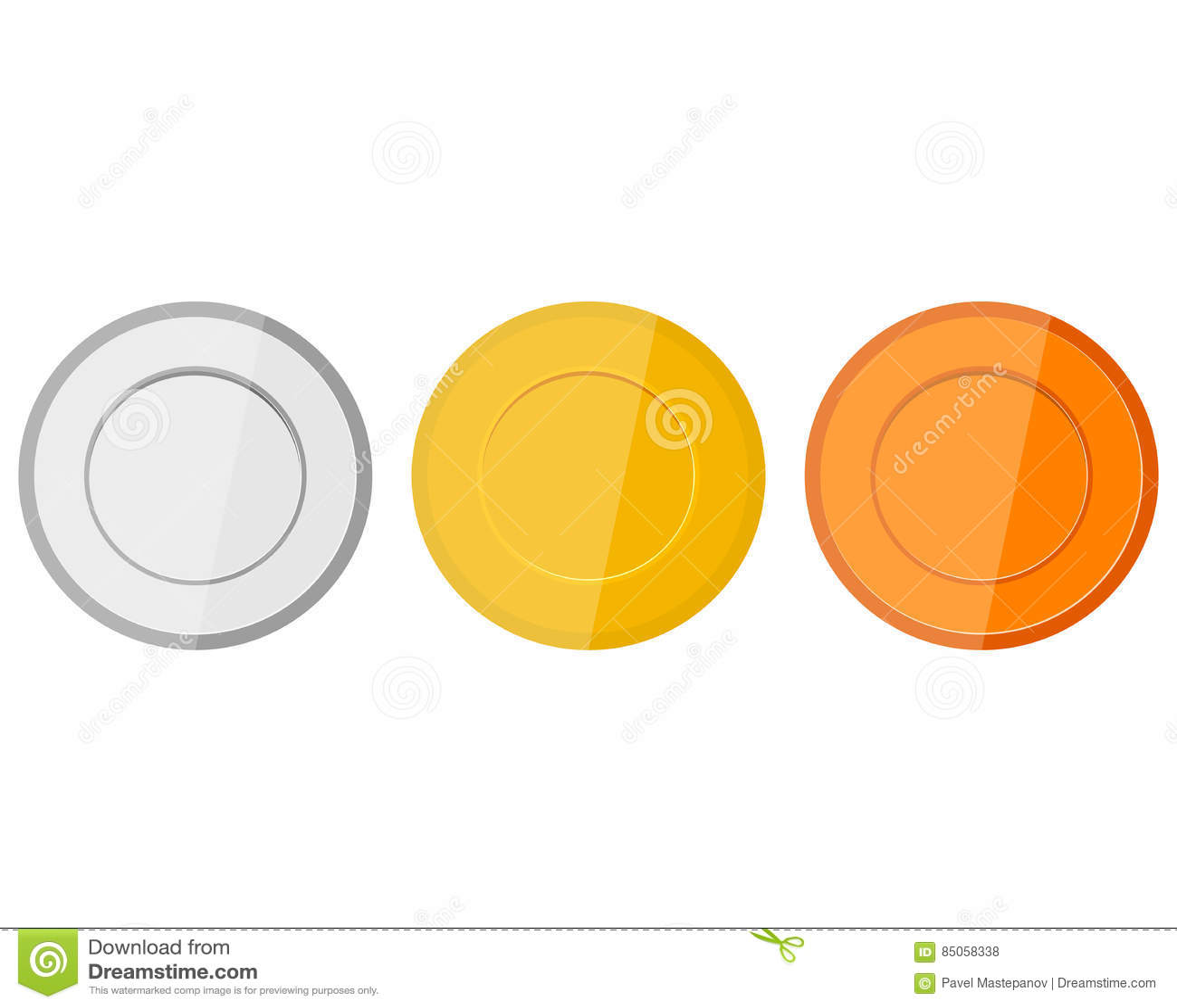 Samling av medaljer för mästarna