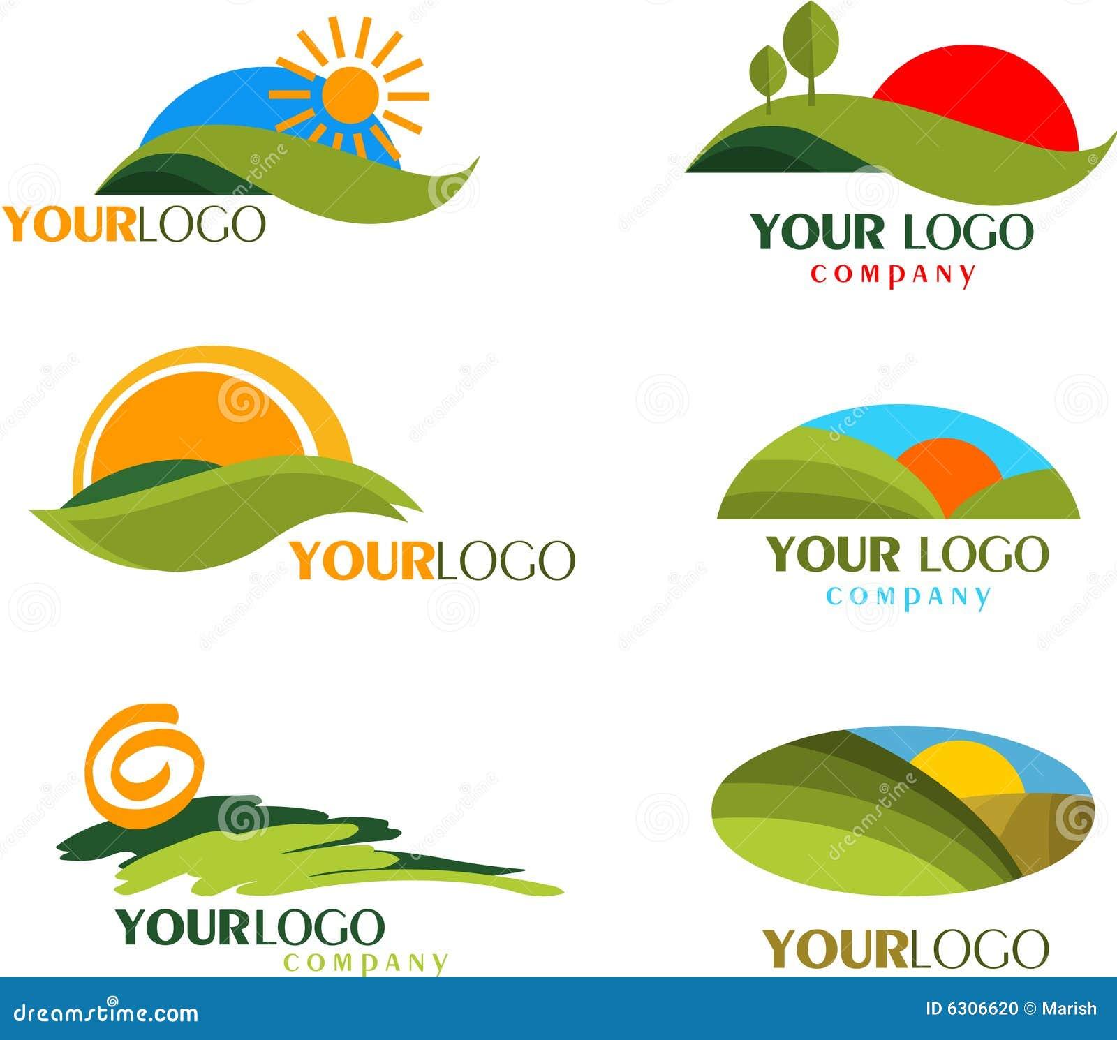 Samling av naturlogoer och symboler