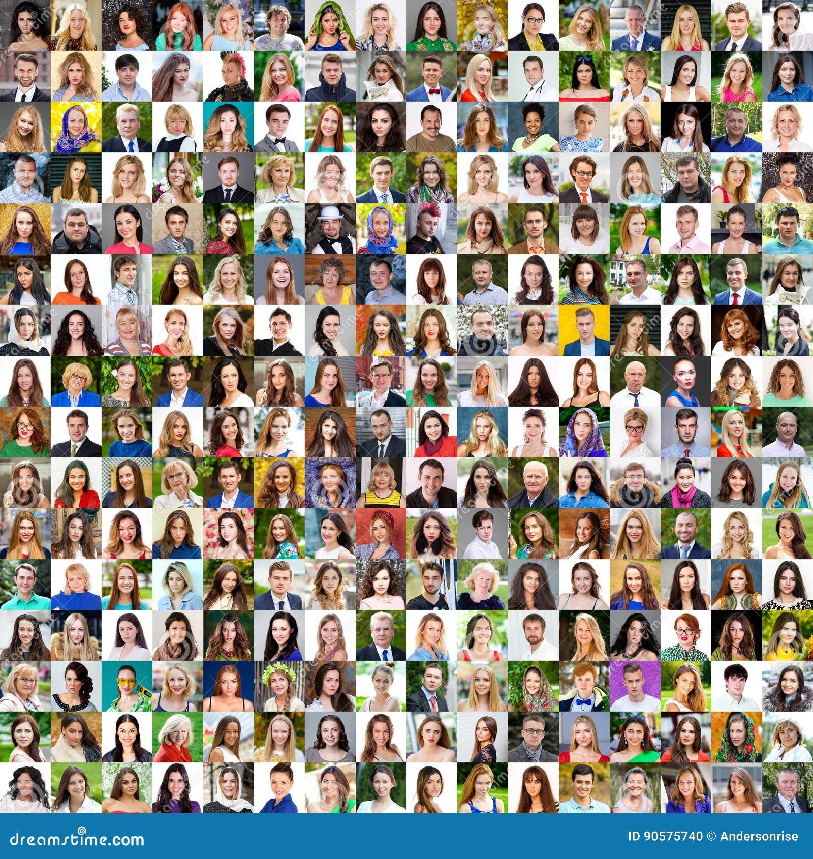 Samling av olika caucasian kvinnor och män som spänner från 18