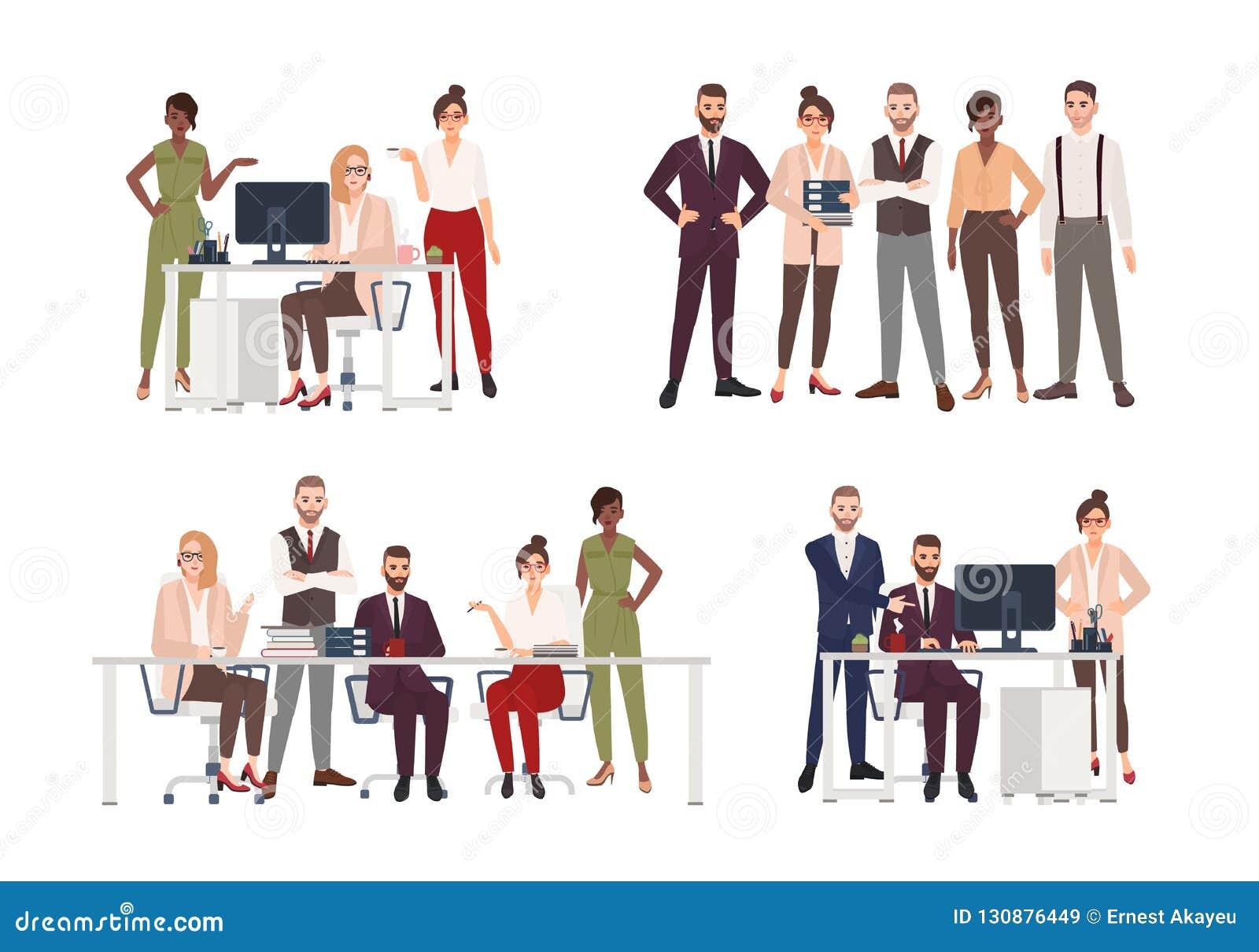 Samling av platser med gruppen av kontorsarbetare eller folk som arbetar på datoren och att ha affärsmöte eller