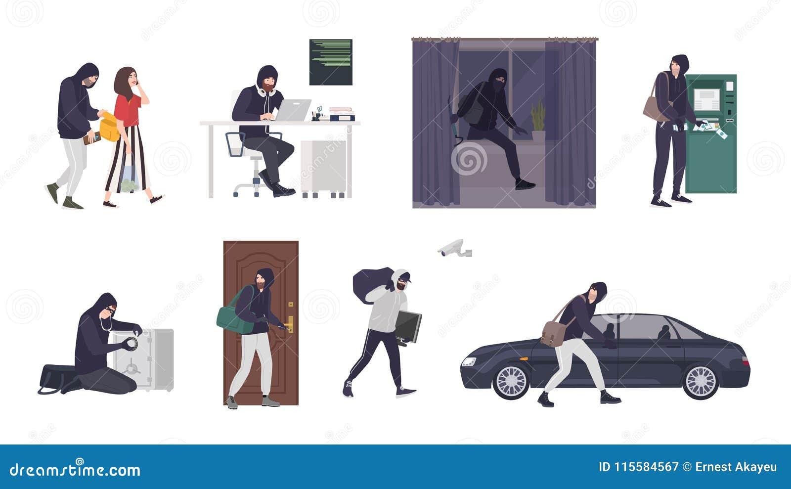 Samling av platser med manlig för tjuv som eller bärande maskerings- och svartkläder för inbrottstjuv stjäler saker från handväsk