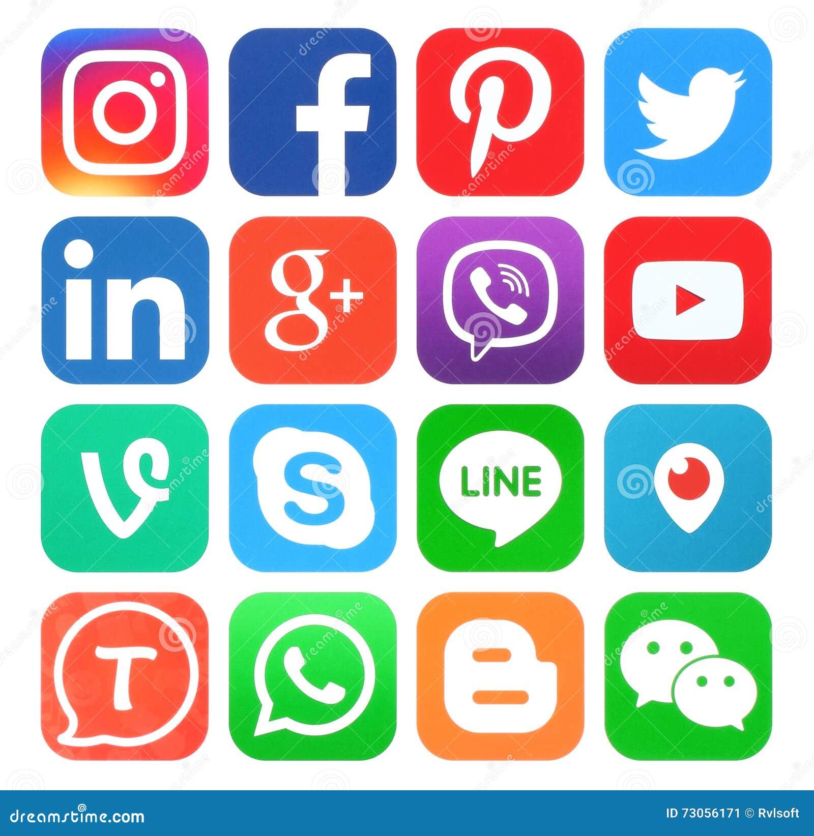 Samling av populära sociala massmediasymboler