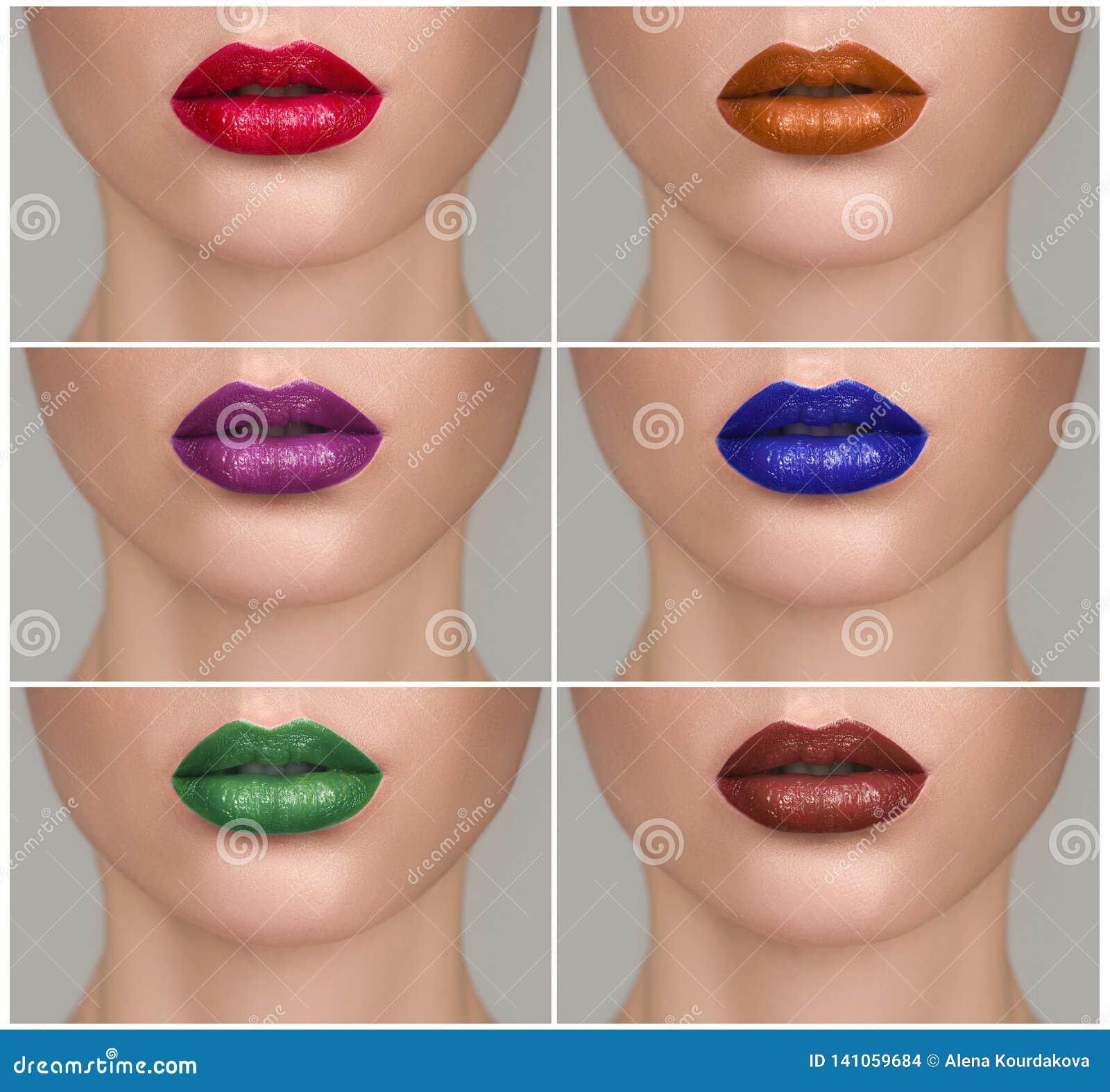 Samling av röda och purpurfärgade toner Paletten av läppstift
