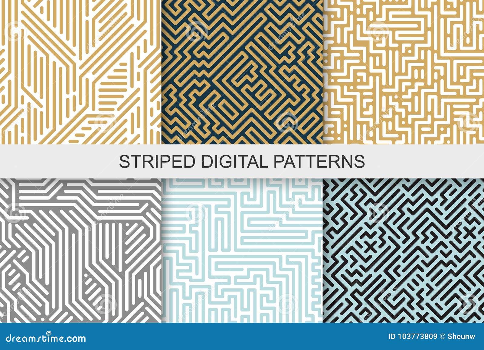 Samling av randiga sömlösa geometriska modeller färgrik textur digital bakgrund